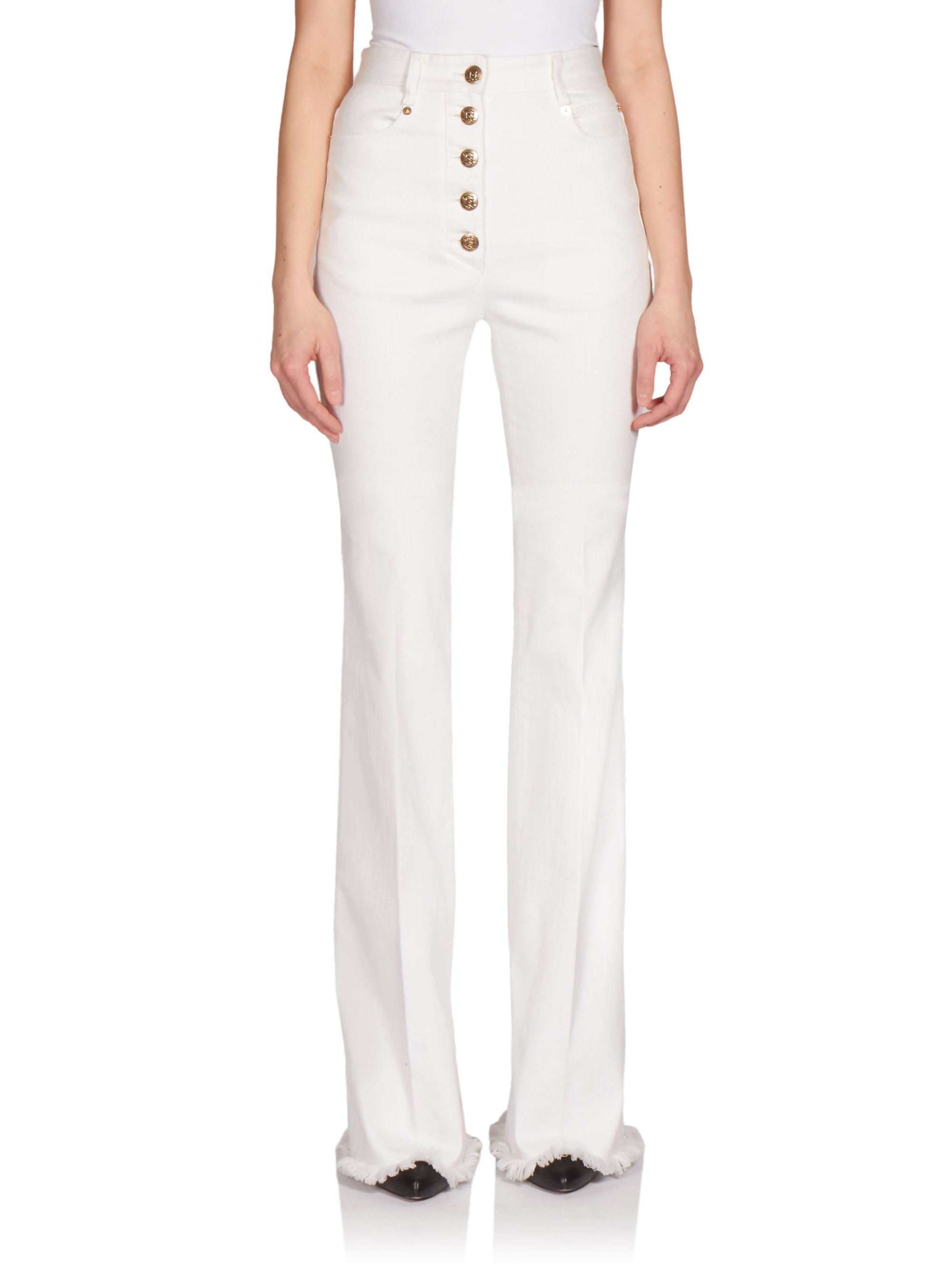 Sonia rykiel High-waist Button-front Flare Jeans in White | Lyst