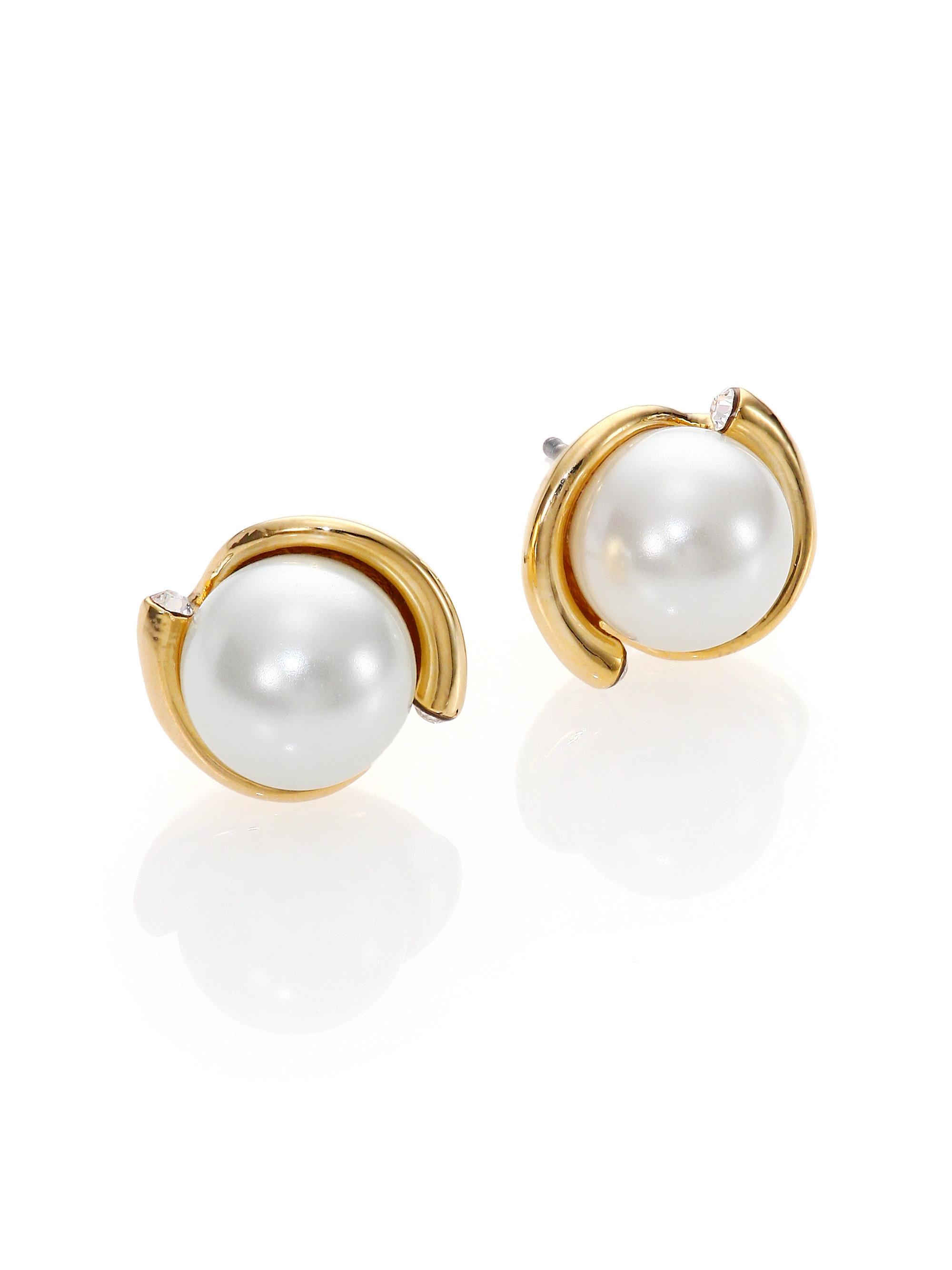 us stud rose crystal earrings faux gold pearl icing and ball graduated