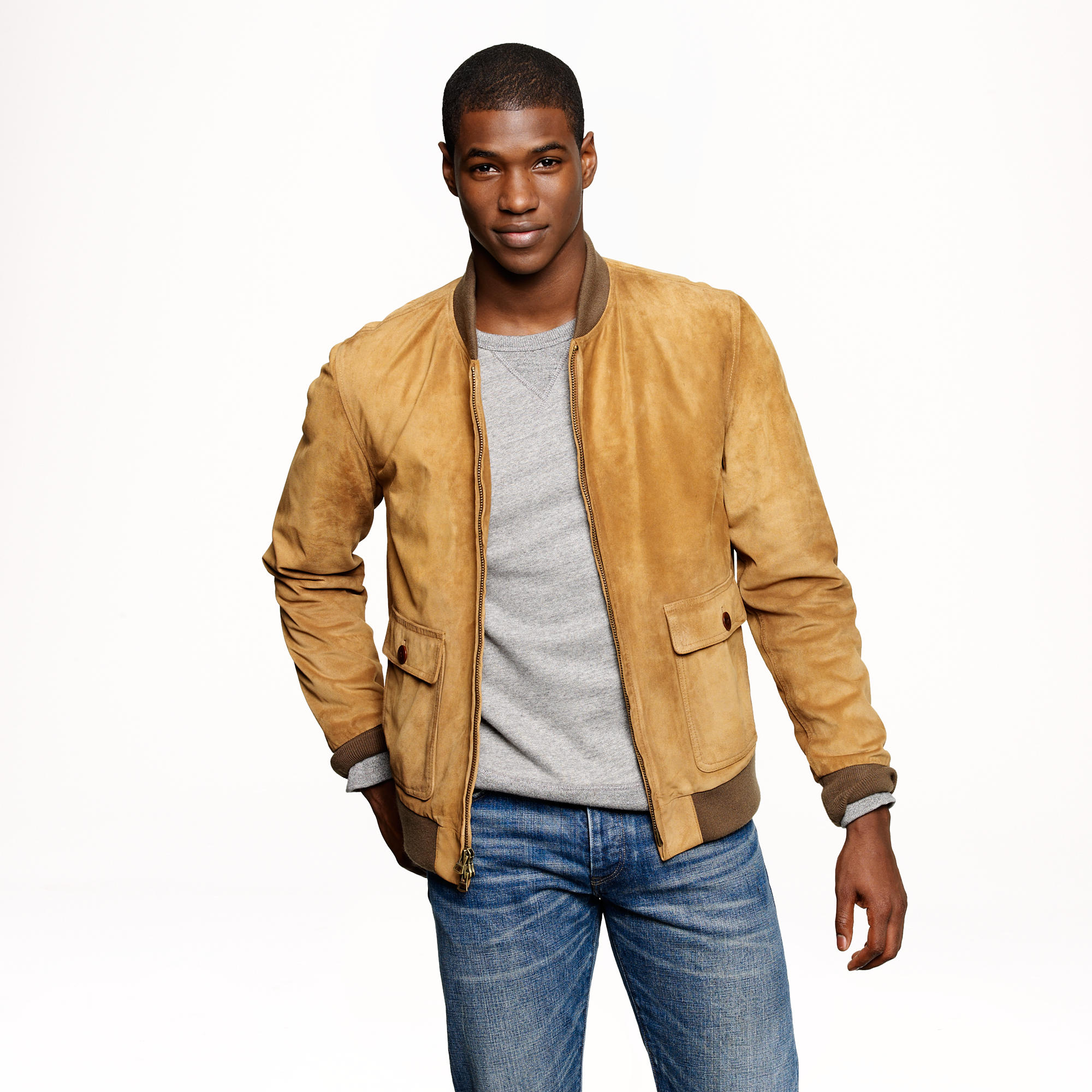 J.crew Suede Bomber Jacket in Brown for Men | Lyst