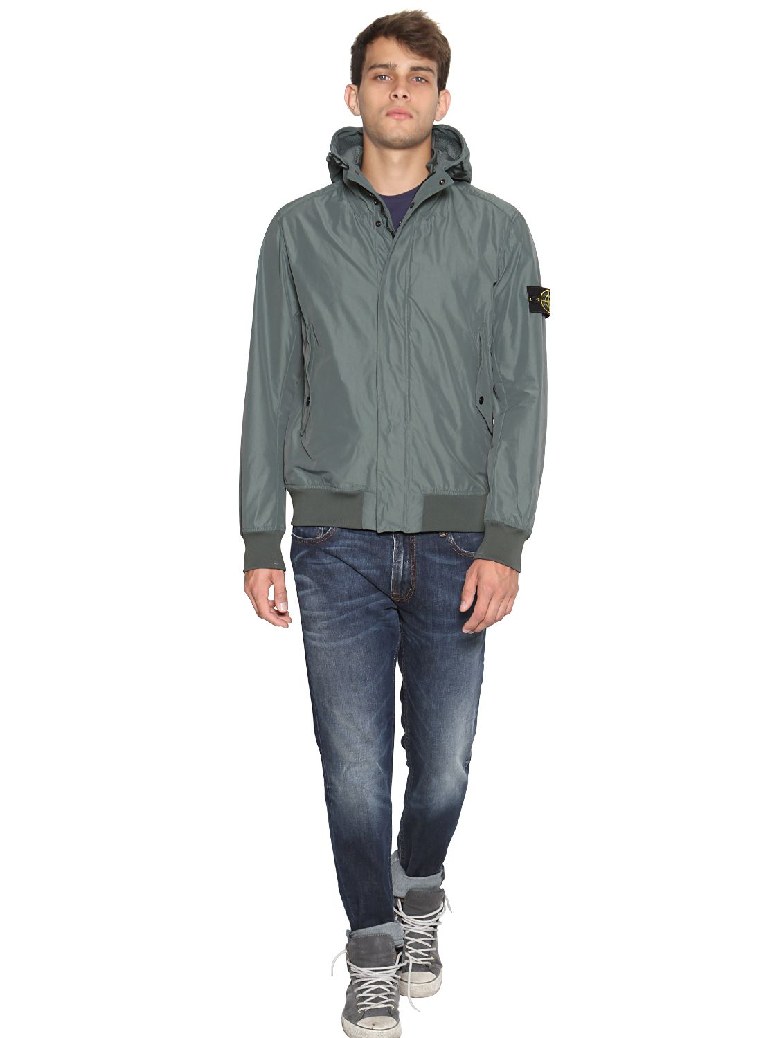 Stone island Micro Reps Casual Jacket in Gray for Men - Lyst