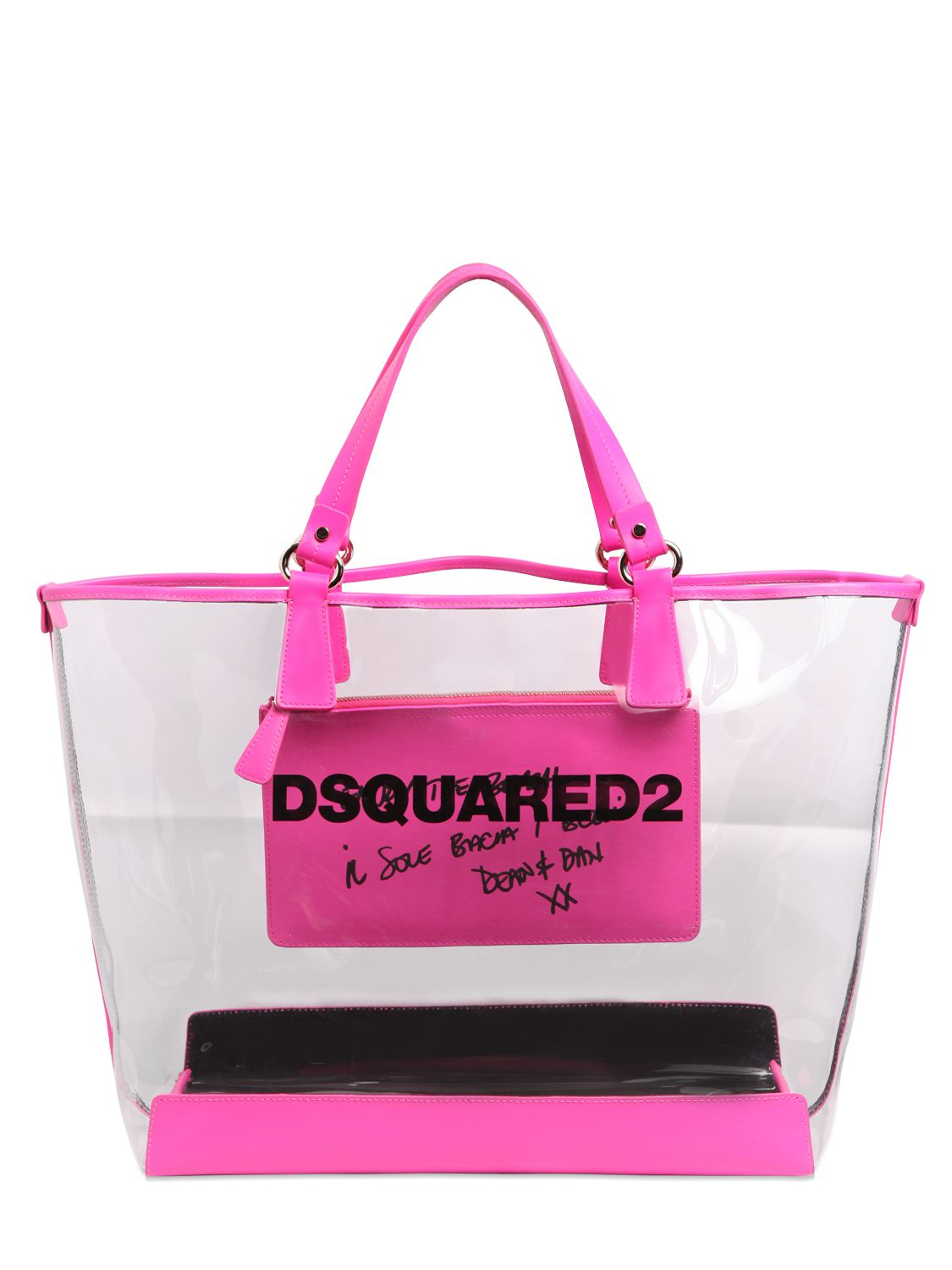 Dsquared² Logo Printed Pvc Beach Tote Bag in Purple | Lyst