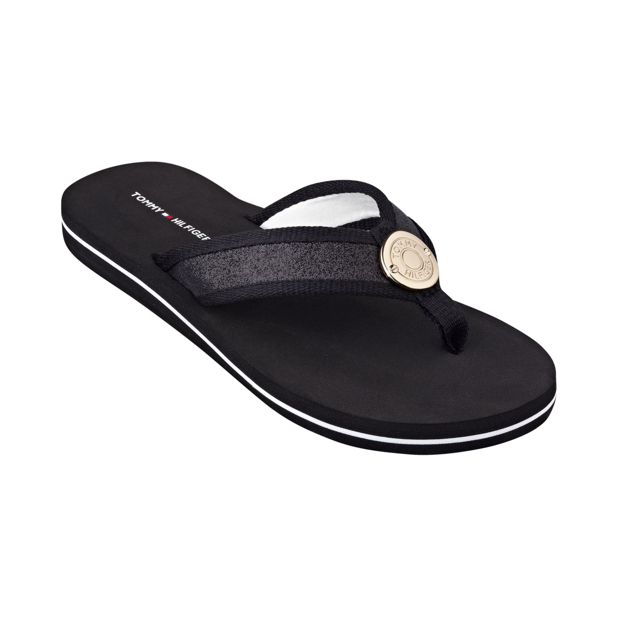 tommy hilfiger women 39 s carma glitter flip flops in black lyst. Black Bedroom Furniture Sets. Home Design Ideas
