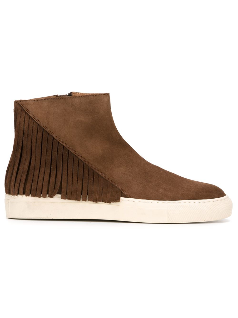 buttero fringed ankle boots in brown