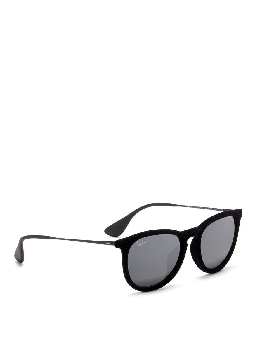 17a6f59939 Lyst - Ray-Ban  Erika  Velvet Wire Rim Mirror Sunglasses in Black