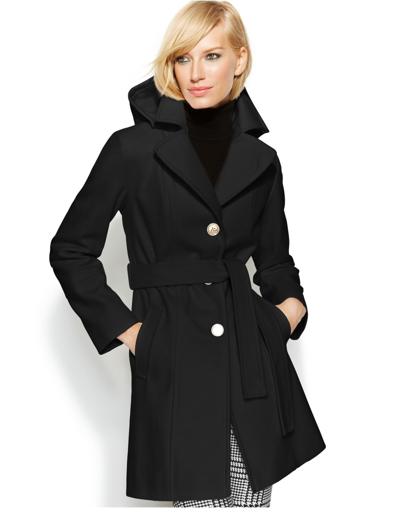 Michael kors Michael Hooded Belted Wool-Blend Coat in Black | Lyst