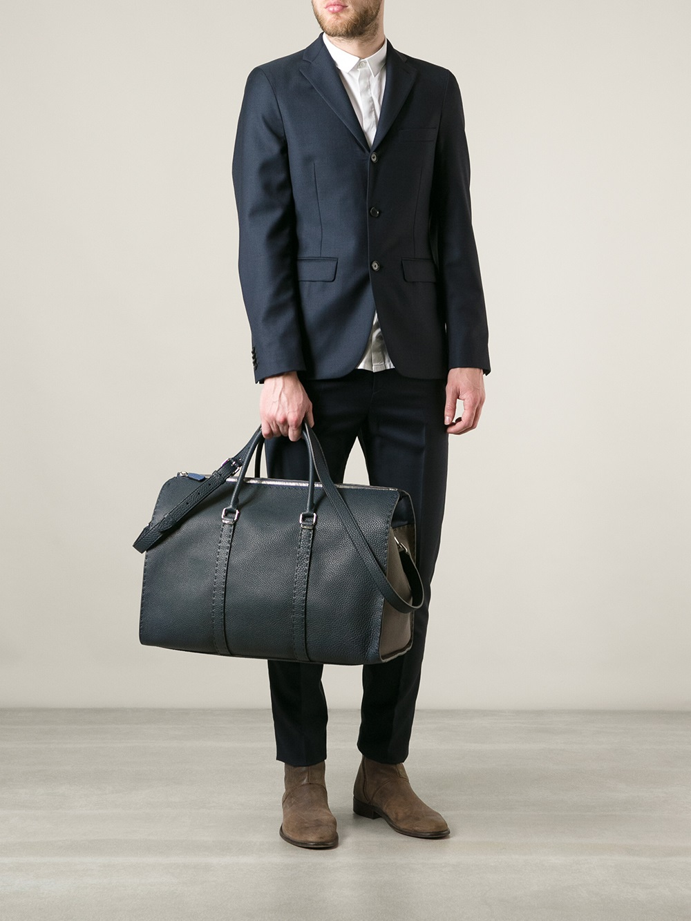 08155f278f49 ... purchase lyst fendi selleria weekend bag in blue for men d6fa2 2b10e