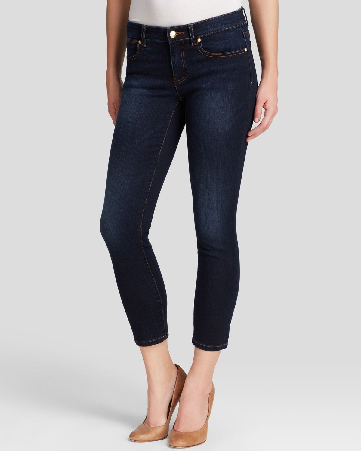 michael michael kors cropped skinny jeans in midnight in blue lyst. Black Bedroom Furniture Sets. Home Design Ideas