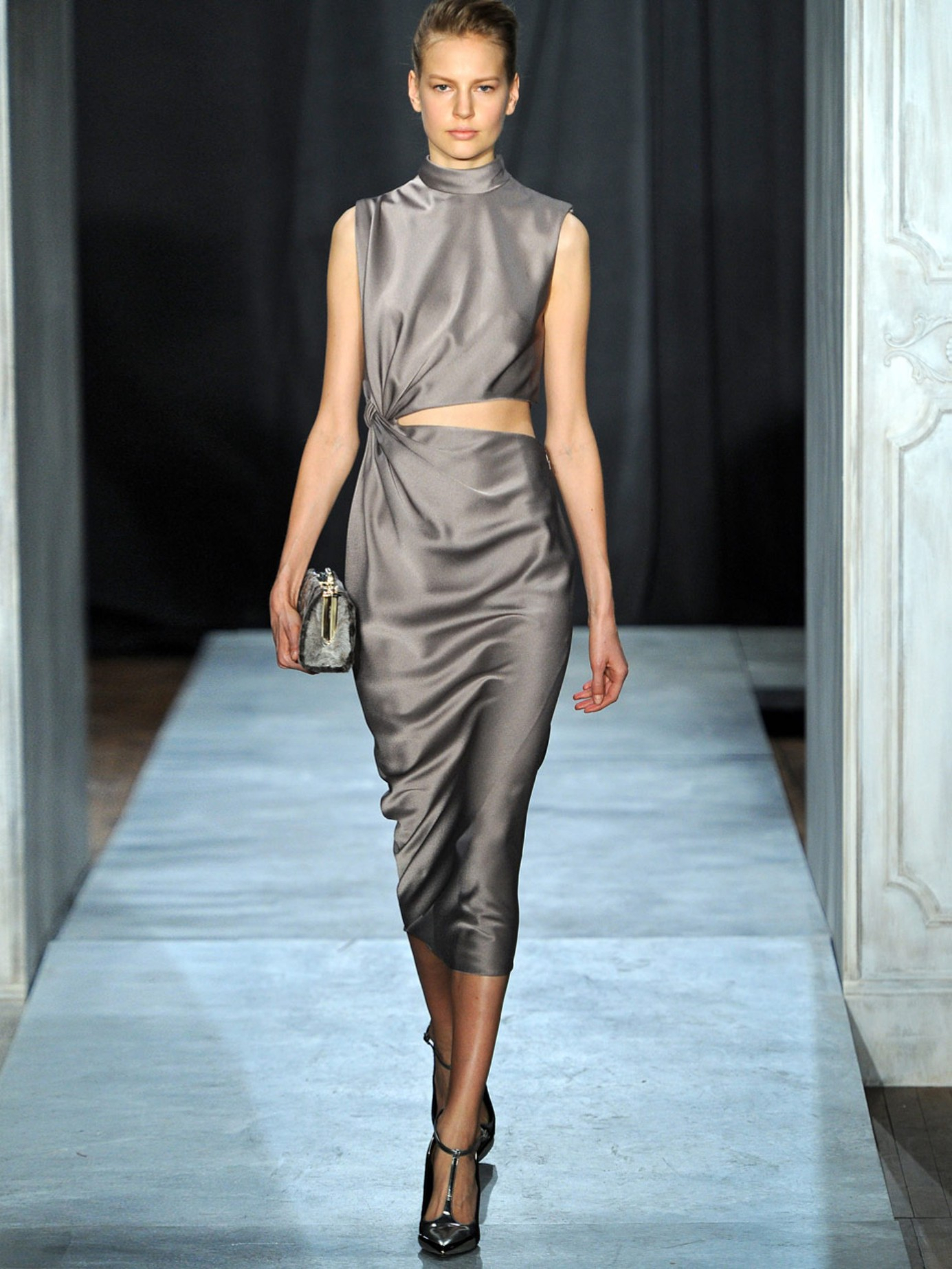 Lyst - Jason Wu Twisted Cut-out Satin Dress in Gray