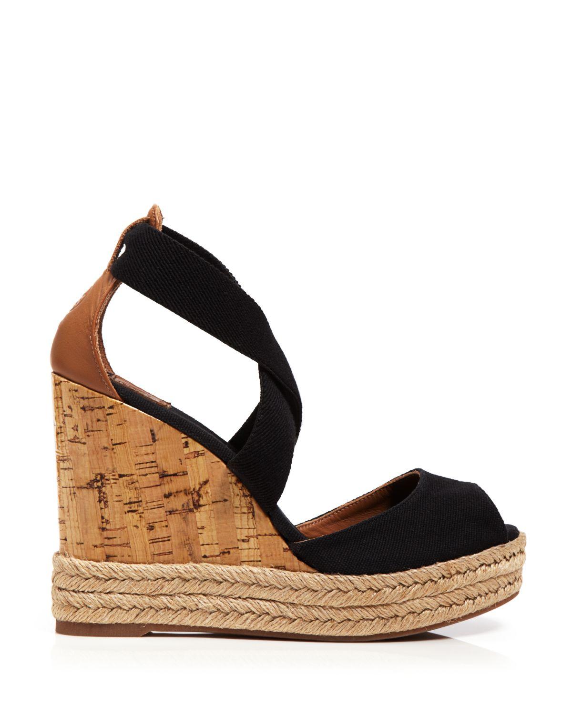 d3d7969fbb7 Lyst - Tory Burch Peep Toe Canvas Platform Sandals - Cork Wedge Heel ...