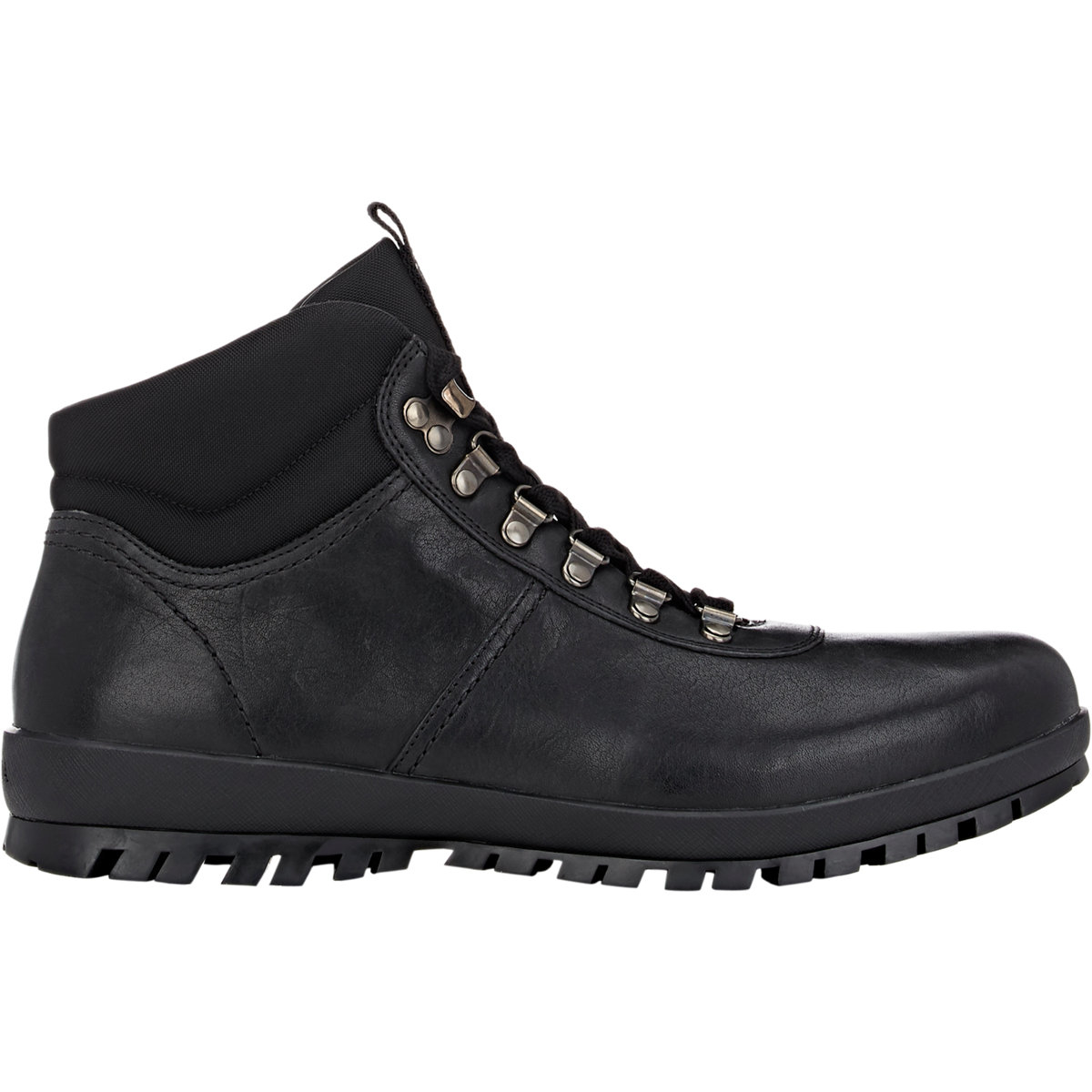 Prada Men's Leather Hiking Boots in Black for Men | Lyst