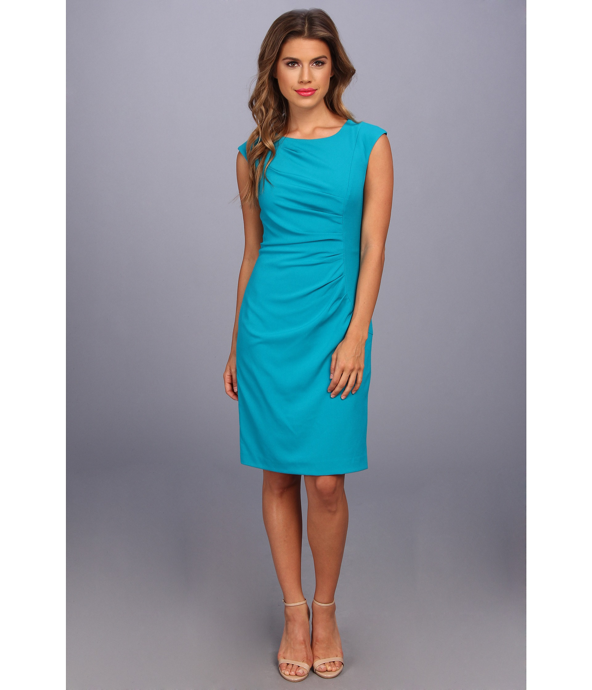 335dd9c05e Calvin Klein Cap Sleeve Side Ruched Lux Dress in Blue - Lyst