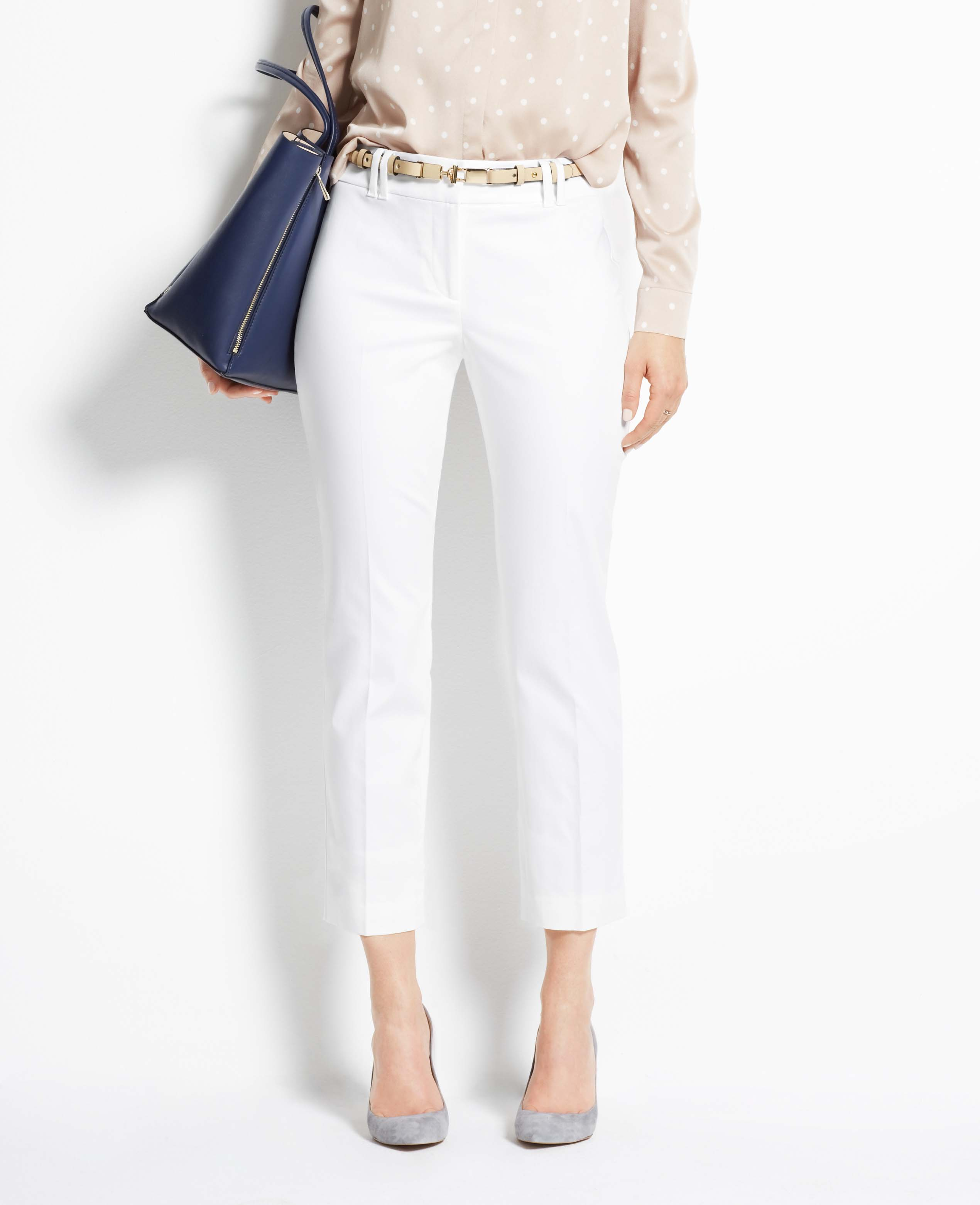 Ann taylor Curvy Cotton Sateen Cropped Pants in White