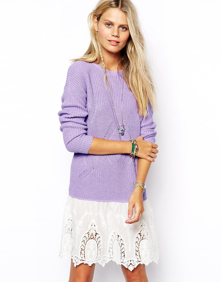 Asos Sweater Dress In Rib Knit With Lace Skirt in Purple | Lyst