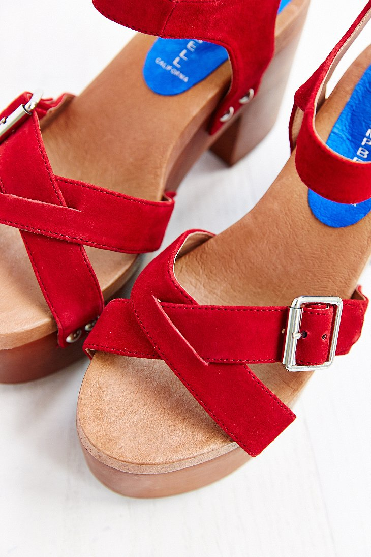 1566259d2a6 Lyst - Jeffrey Campbell Peasy Wood-Bottom Heel in Red