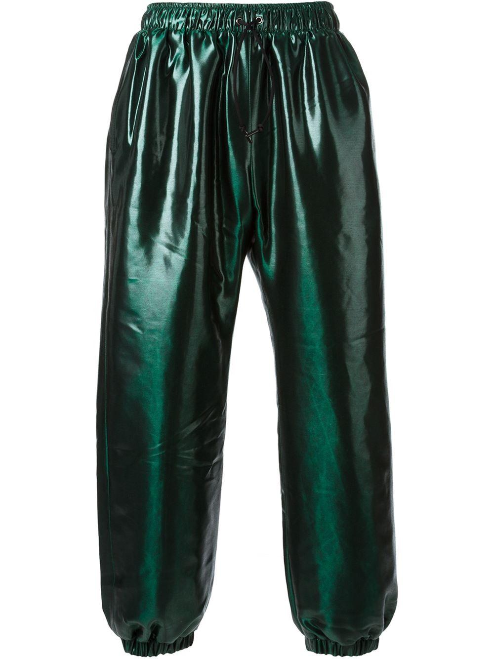 Nasir mazhar Metallic Track Pants in Green for Men | Lyst