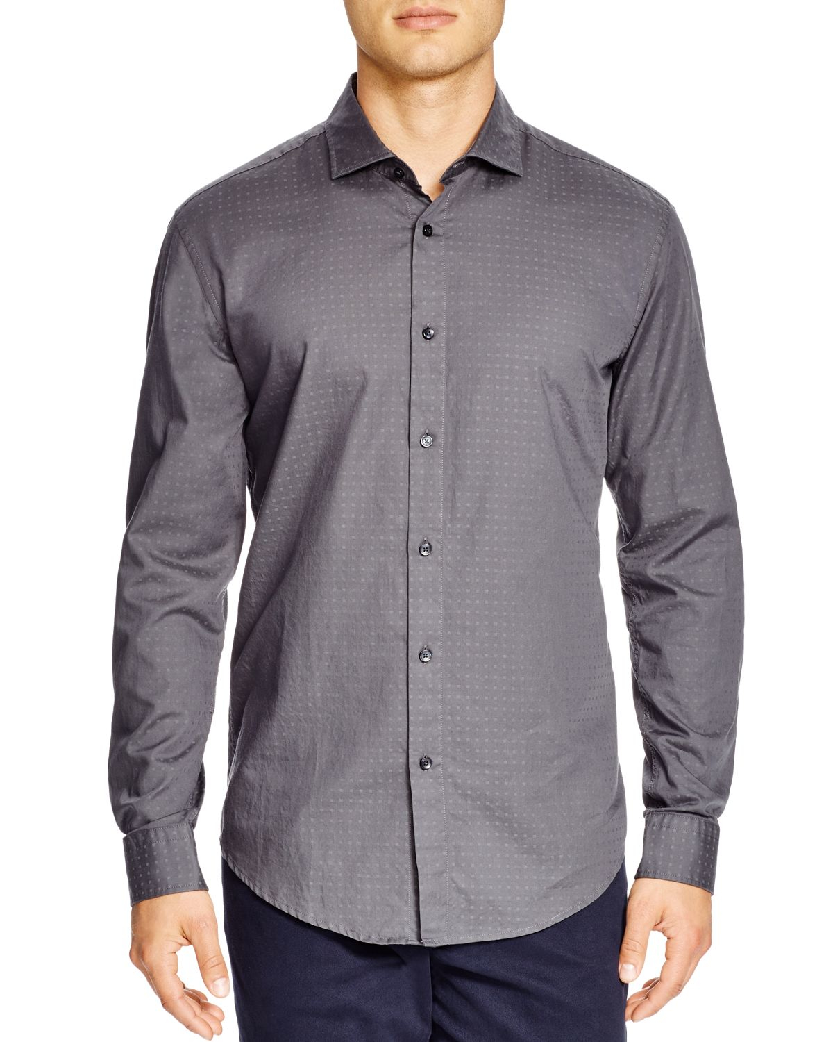 Boss gray boss ridley 2f slim fit button down shirt for Grey button down shirt