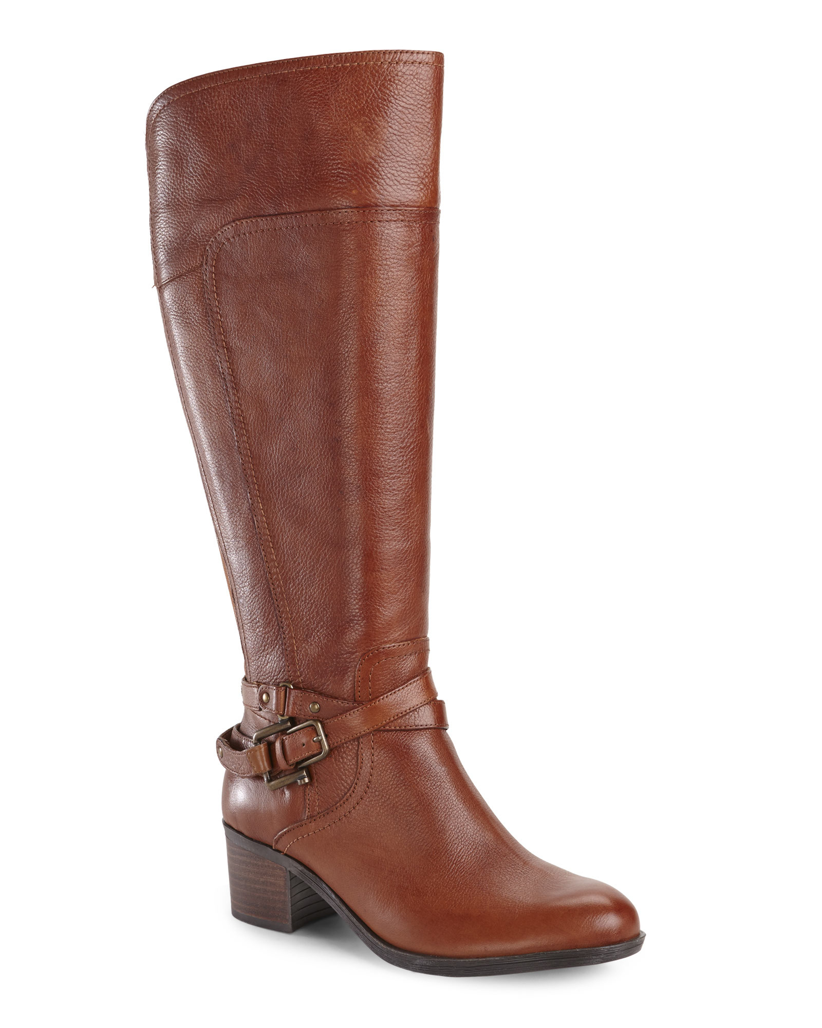 marc fisher cognac kacee wide calf boots in brown