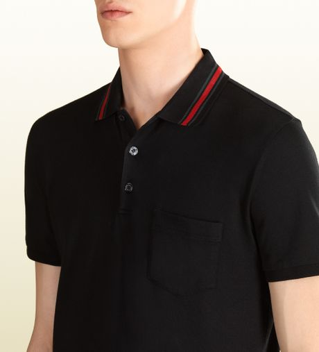 Gucci cotton jersey polo shirt in black for men lyst for Black cotton polo shirt