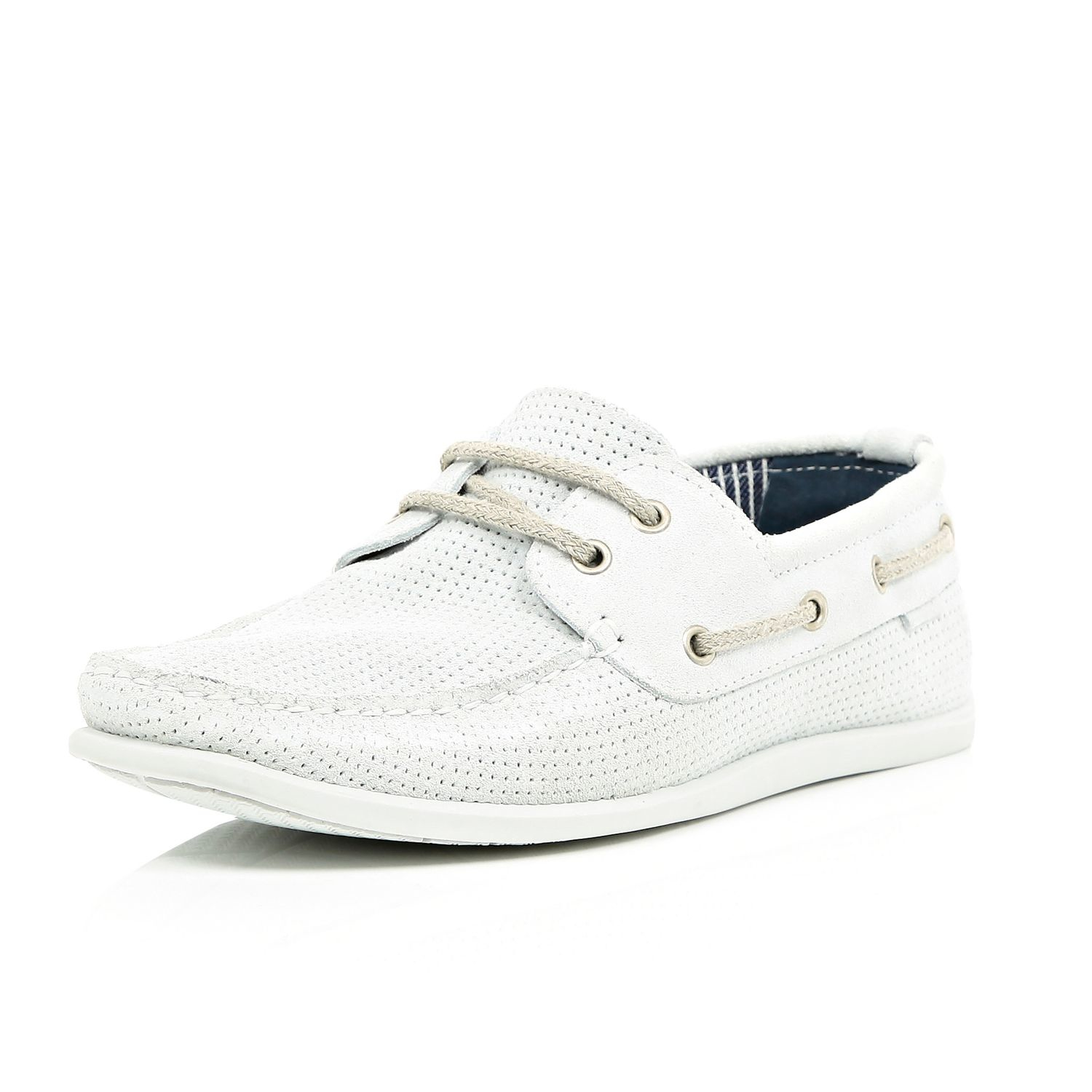 river island white perforated suede boat shoes in white