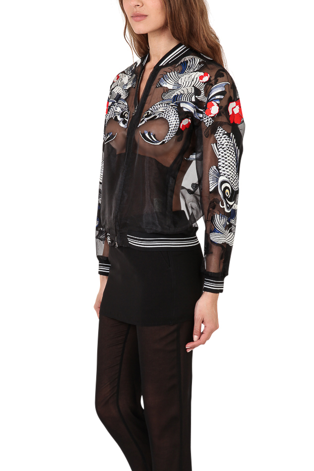 3.1 Phillip Lim Tattoo Embroidery Organza Jacket in Black