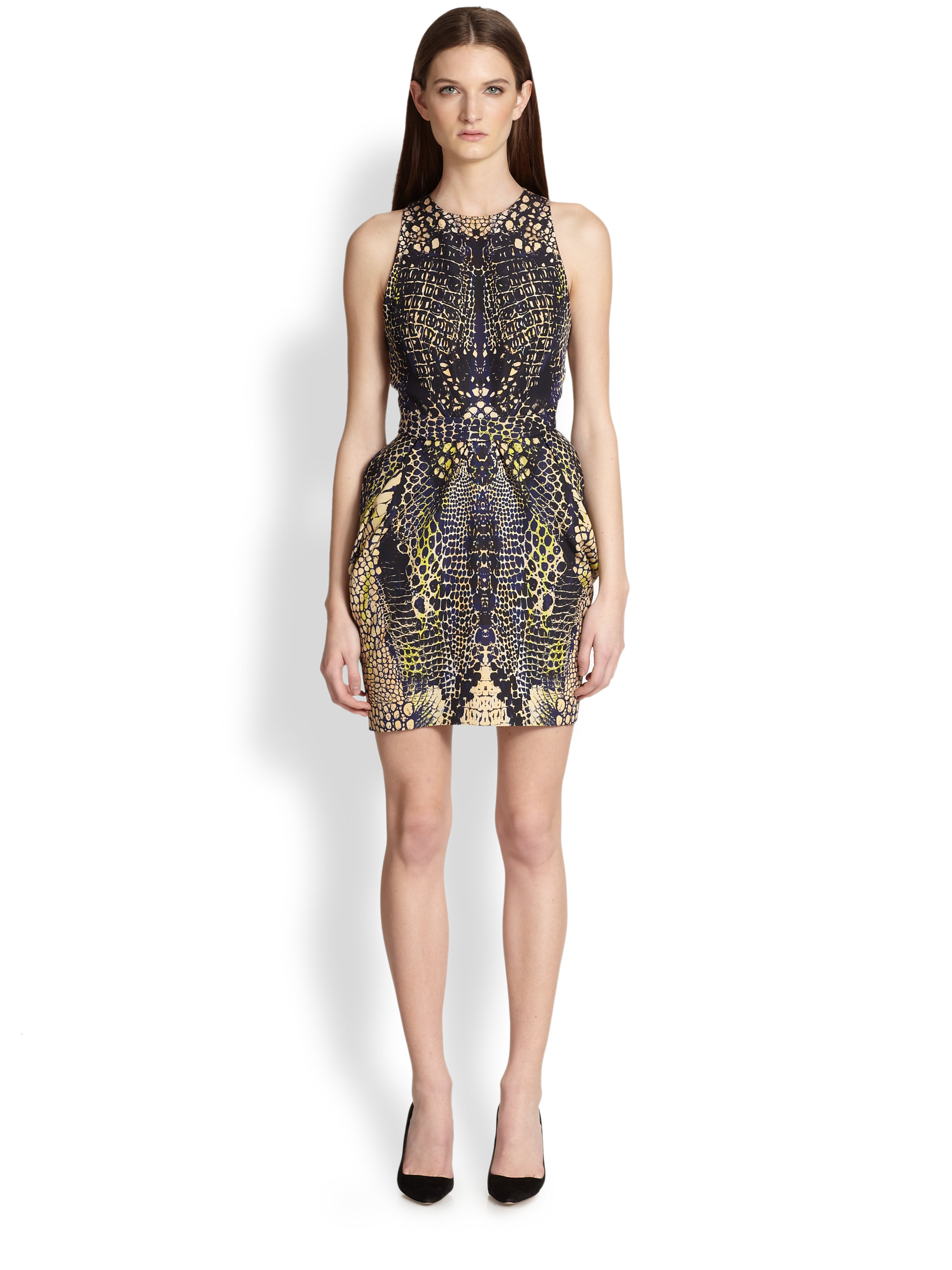 Lyst Mcq Reptile Print Open Back Dress