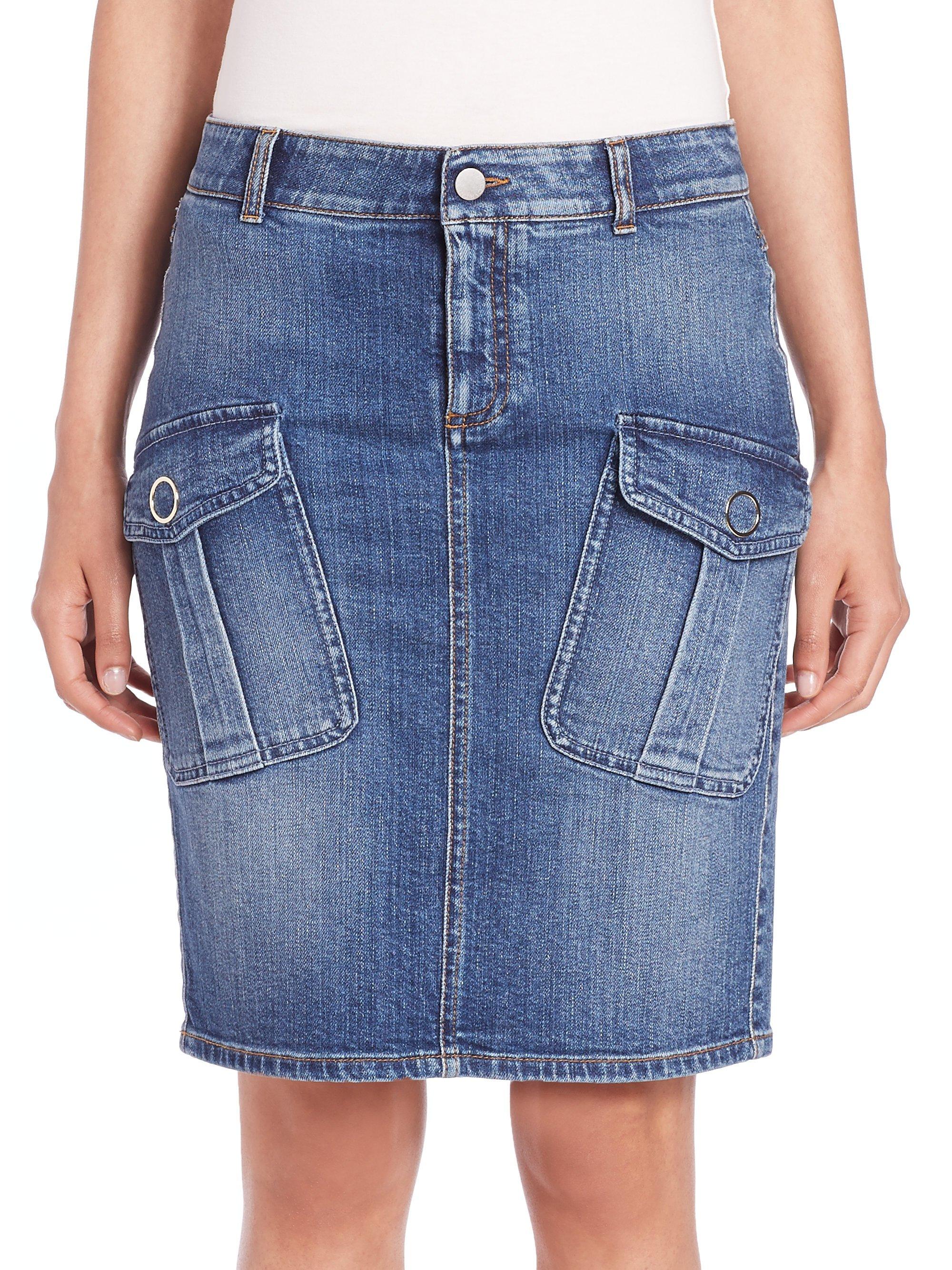 Lyst Stella Mccartney Denim Cargo Skirt In Blue