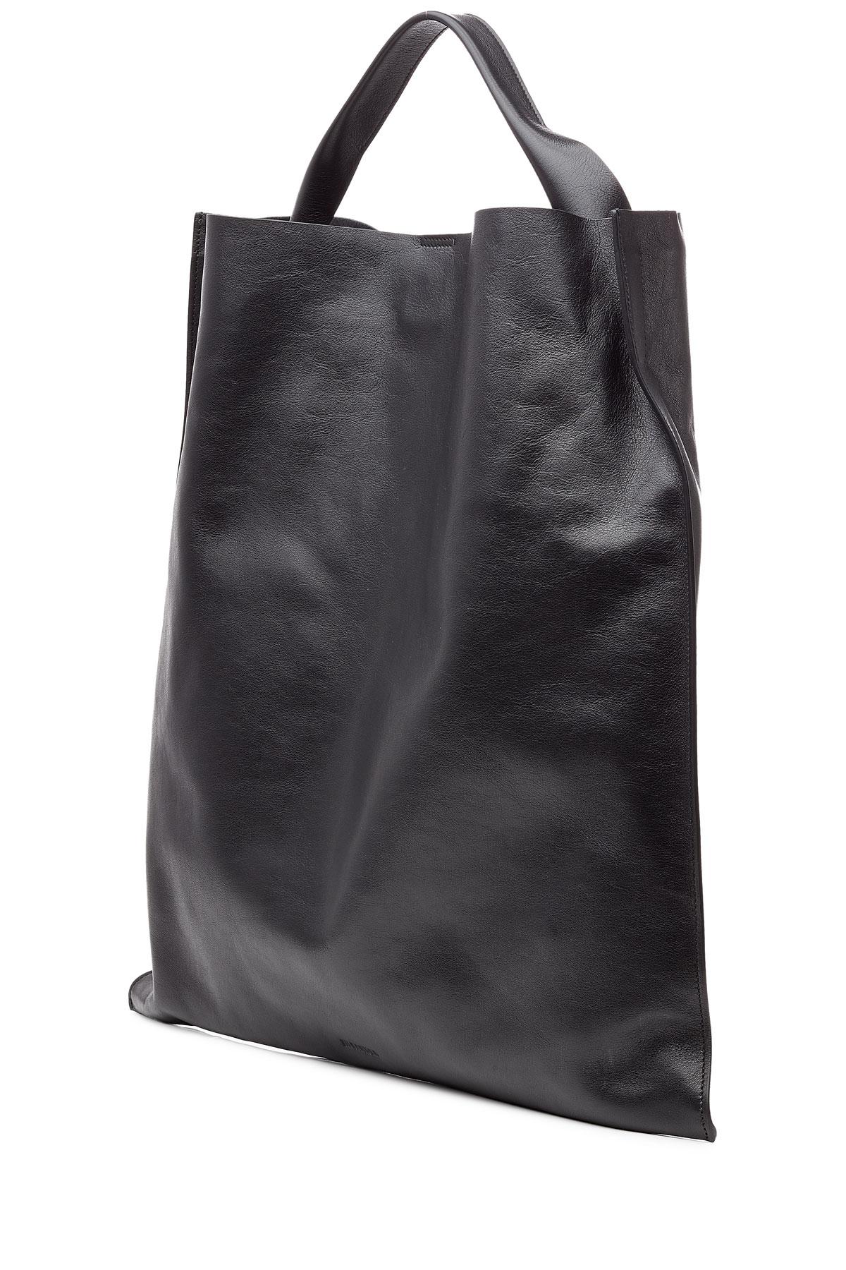 9291ea234bac Lyst - Jil Sander Xiao Leather Tote in Black