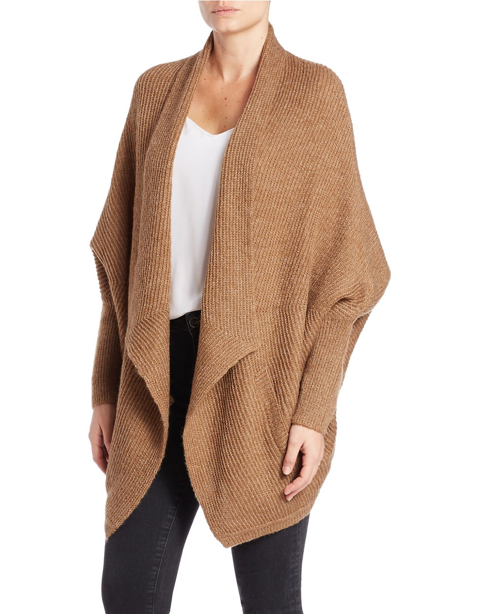 Lord & taylor Wool-blend Cocoon Cardigan in Brown | Lyst