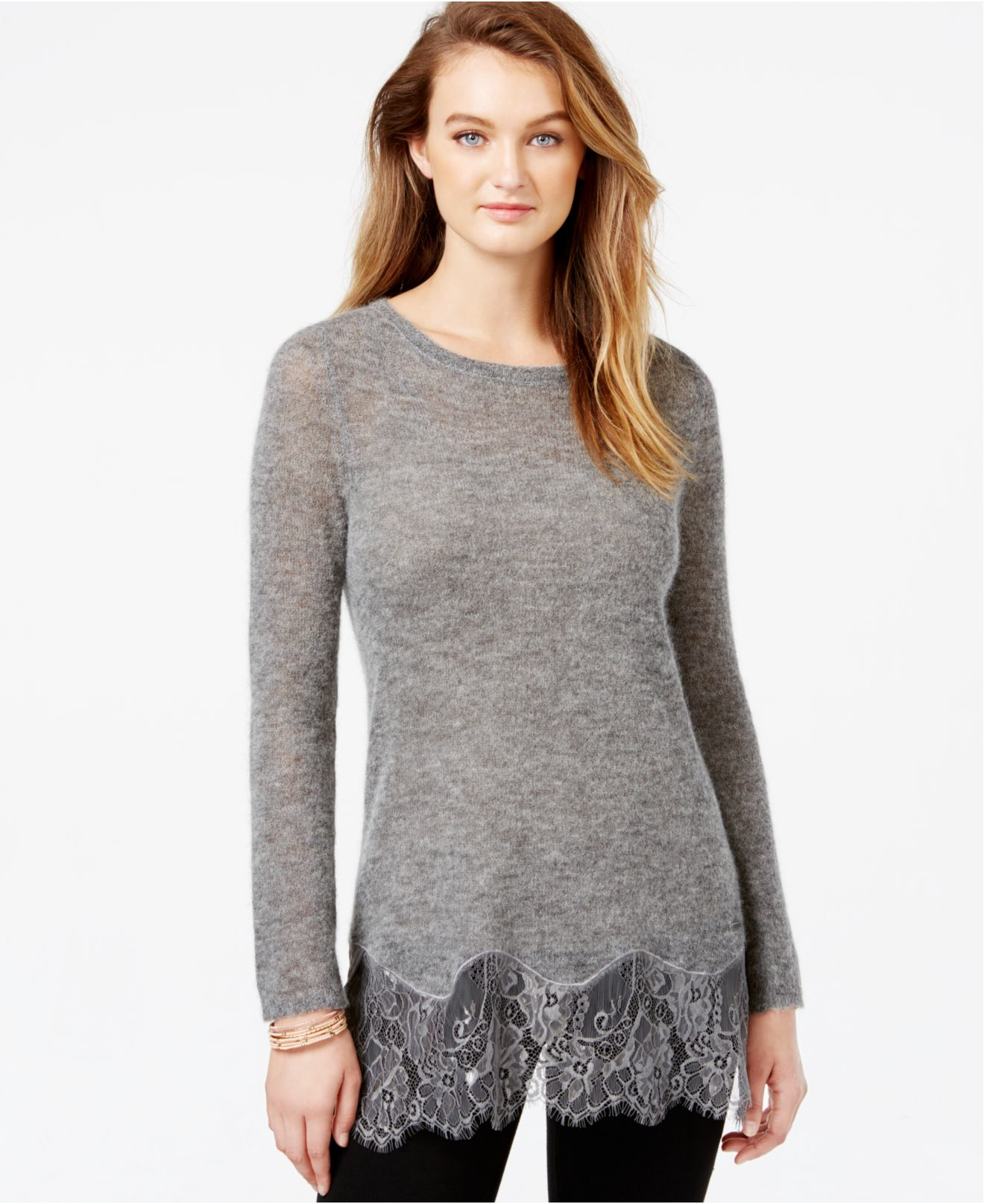 Guess Lace-trim Tunic Sweater in Gray | Lyst