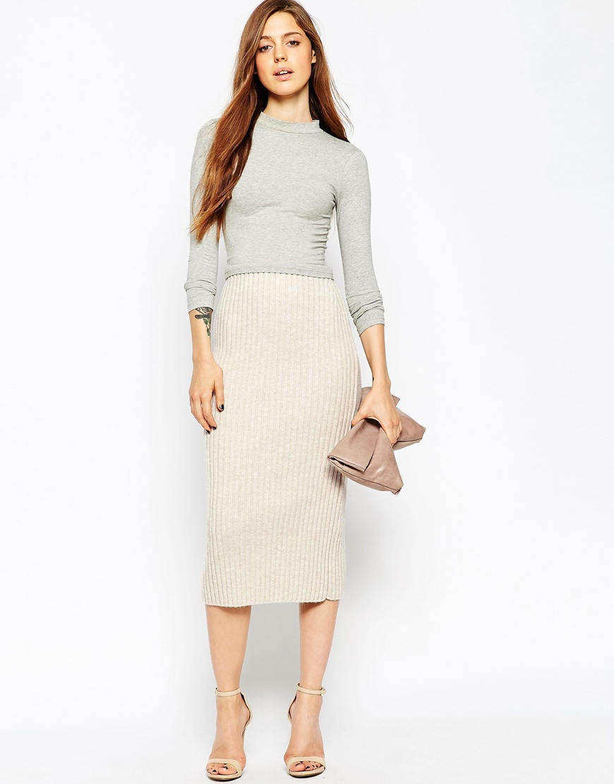 Asos Pencil Skirt In Chunky Rib in Natural | Lyst