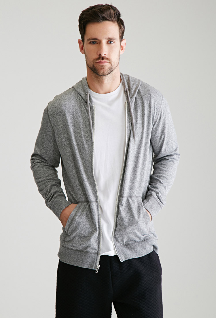 Forever 21 Marled Zip-up Hoodie in Gray for Men | Lyst