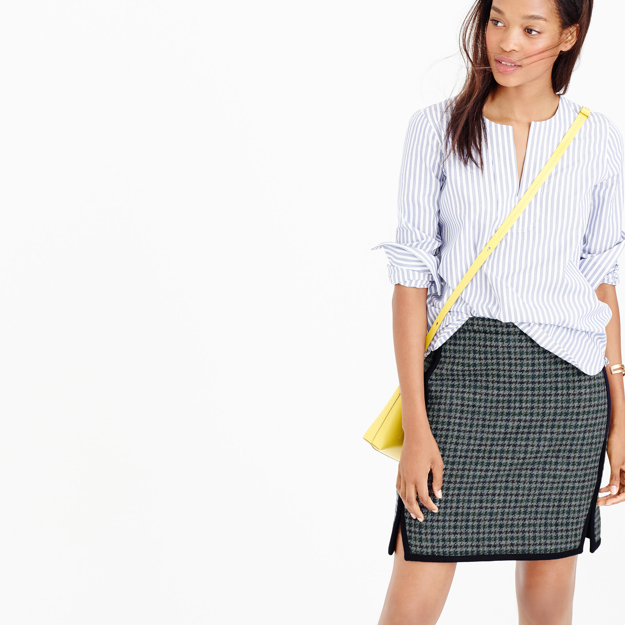 Lyst J Crew Double Notch Mini Skirt In Houndstooth In Gray