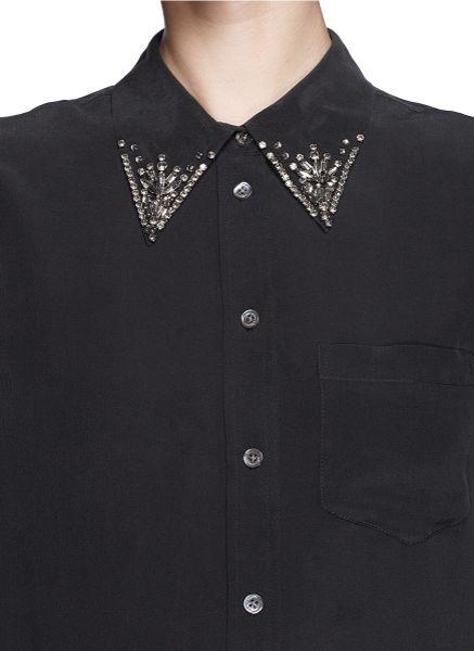 Equipment 39 reese 39 jewel collar silk shirt in black lyst for Equipment black silk shirt