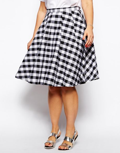 asos curve exclusive midi skirt in gingham check in black