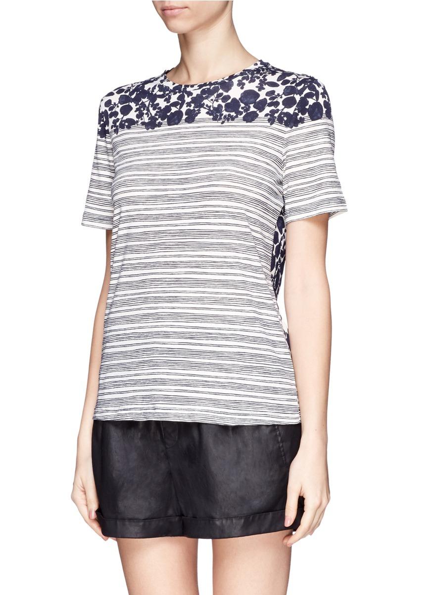 Lyst tory burch 39 cathy 39 leaf stripe cotton t shirt for Tory burch t shirt