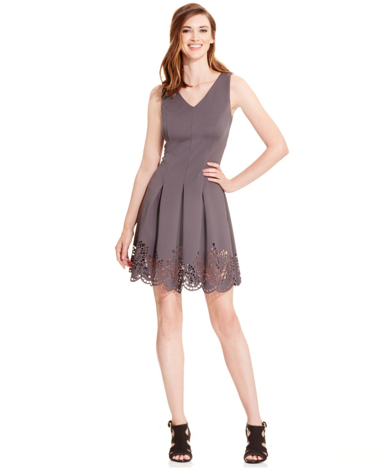 Lyst Spense Petite Cutout Trim Sleeveless Flare Dress In