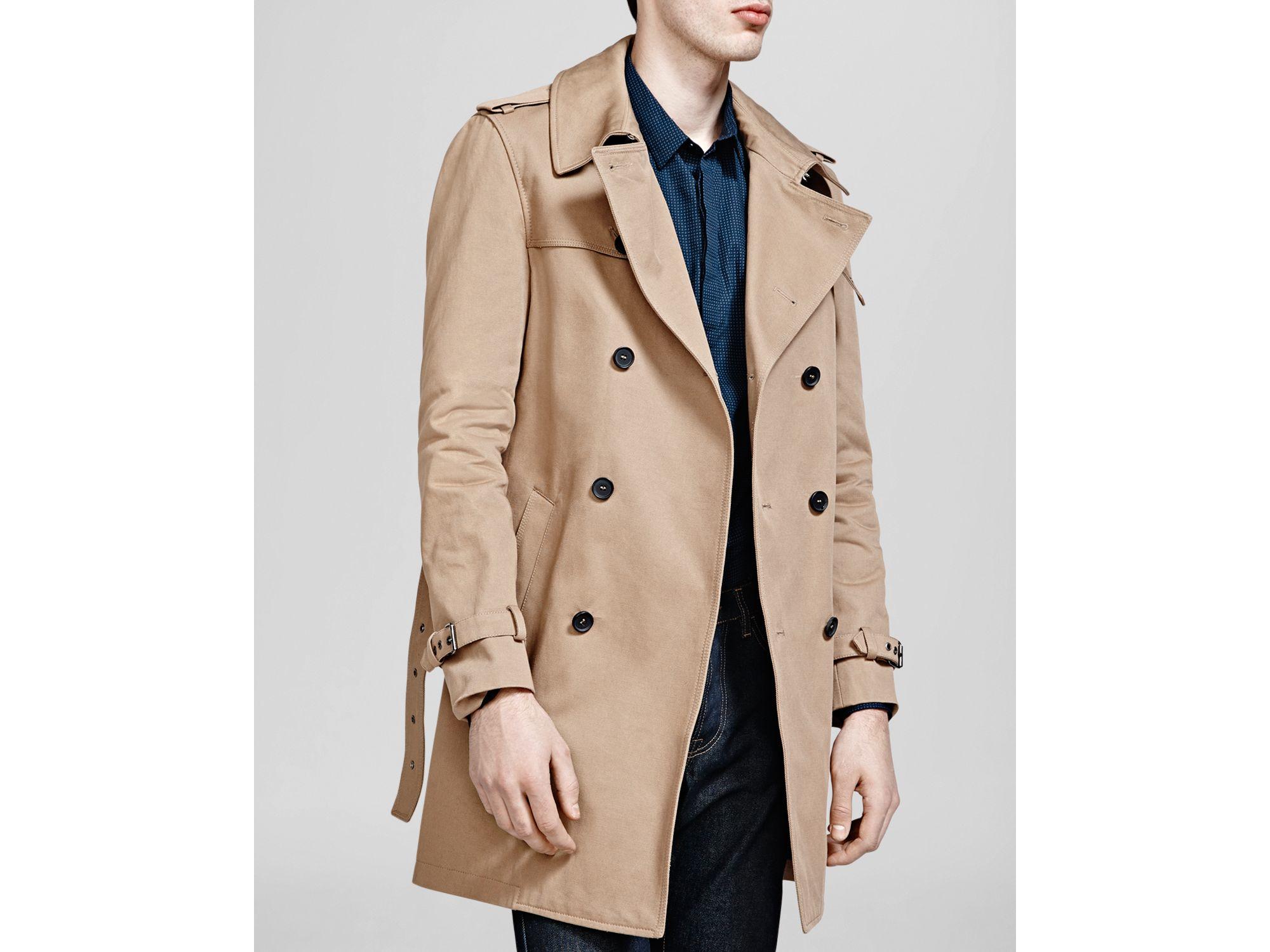Kooples Trench For Lyst Gabardine In Coat Twill The Men Natural 5qxIR