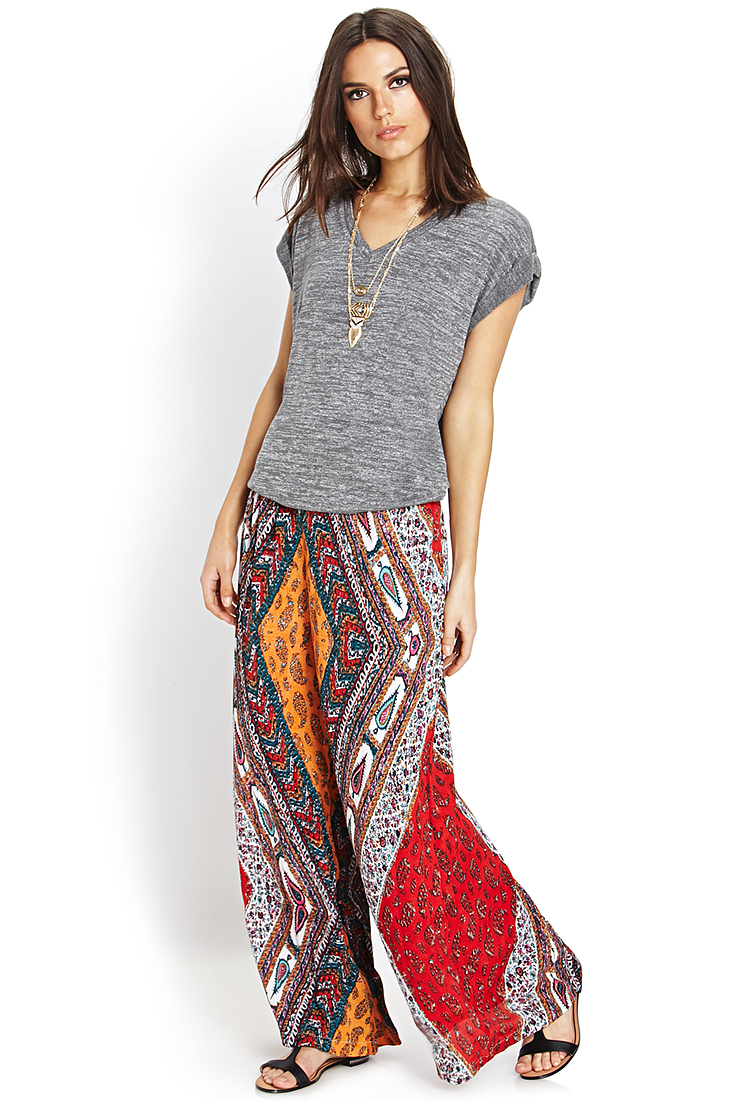 Forever 21 Contemporary Scarf Print Wide-leg Pants | Lyst