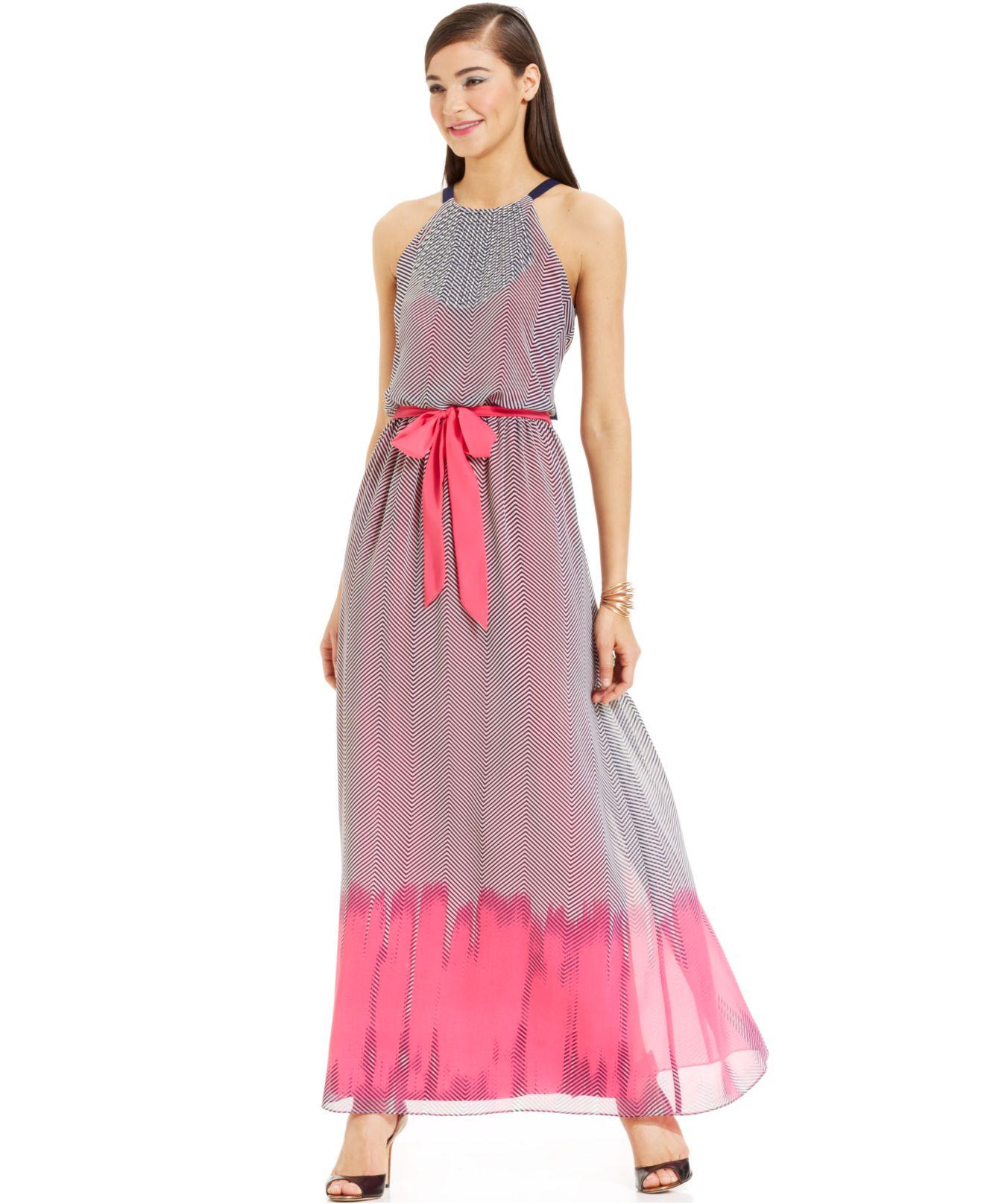 Vince camuto chevron print maxi dress