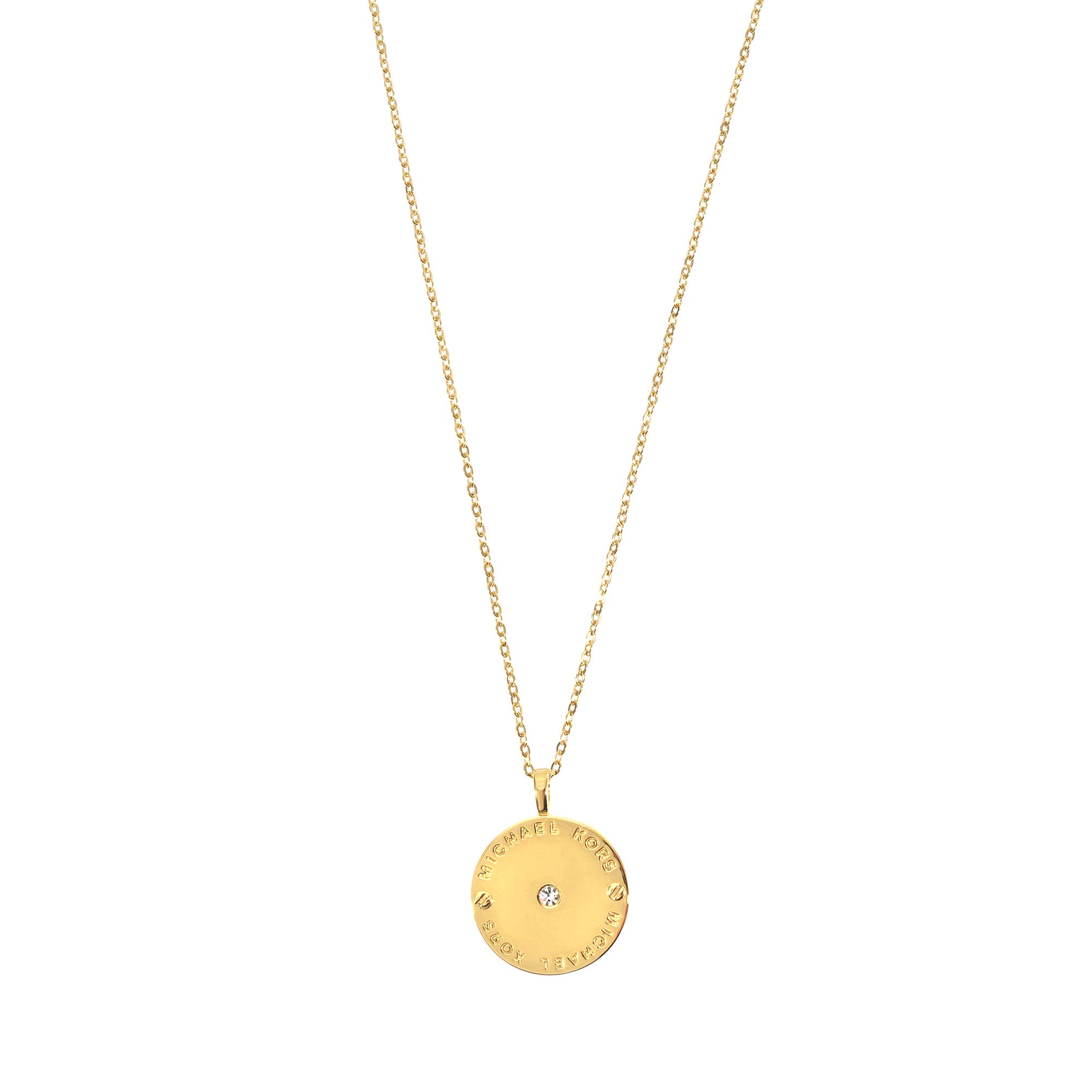 michael kors mk logo necklace in gold lyst. Black Bedroom Furniture Sets. Home Design Ideas