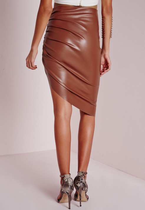 d305062a8 Missguided Faux Leather Ruched Asymmetric Midi Skirt Terracotta in ...