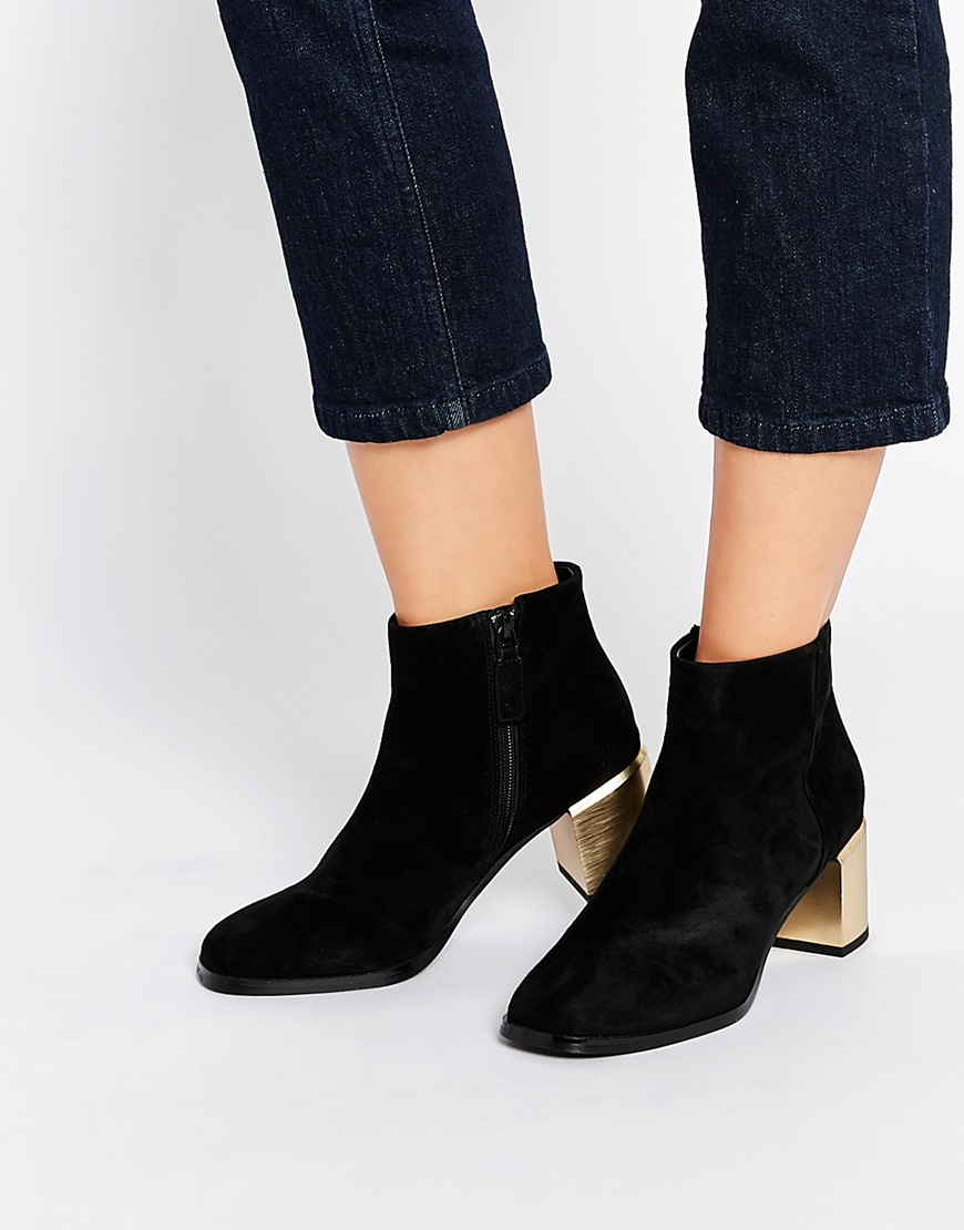 Lyst - Senso Enso Vincent Black Suede Gold Heel Boots in Black