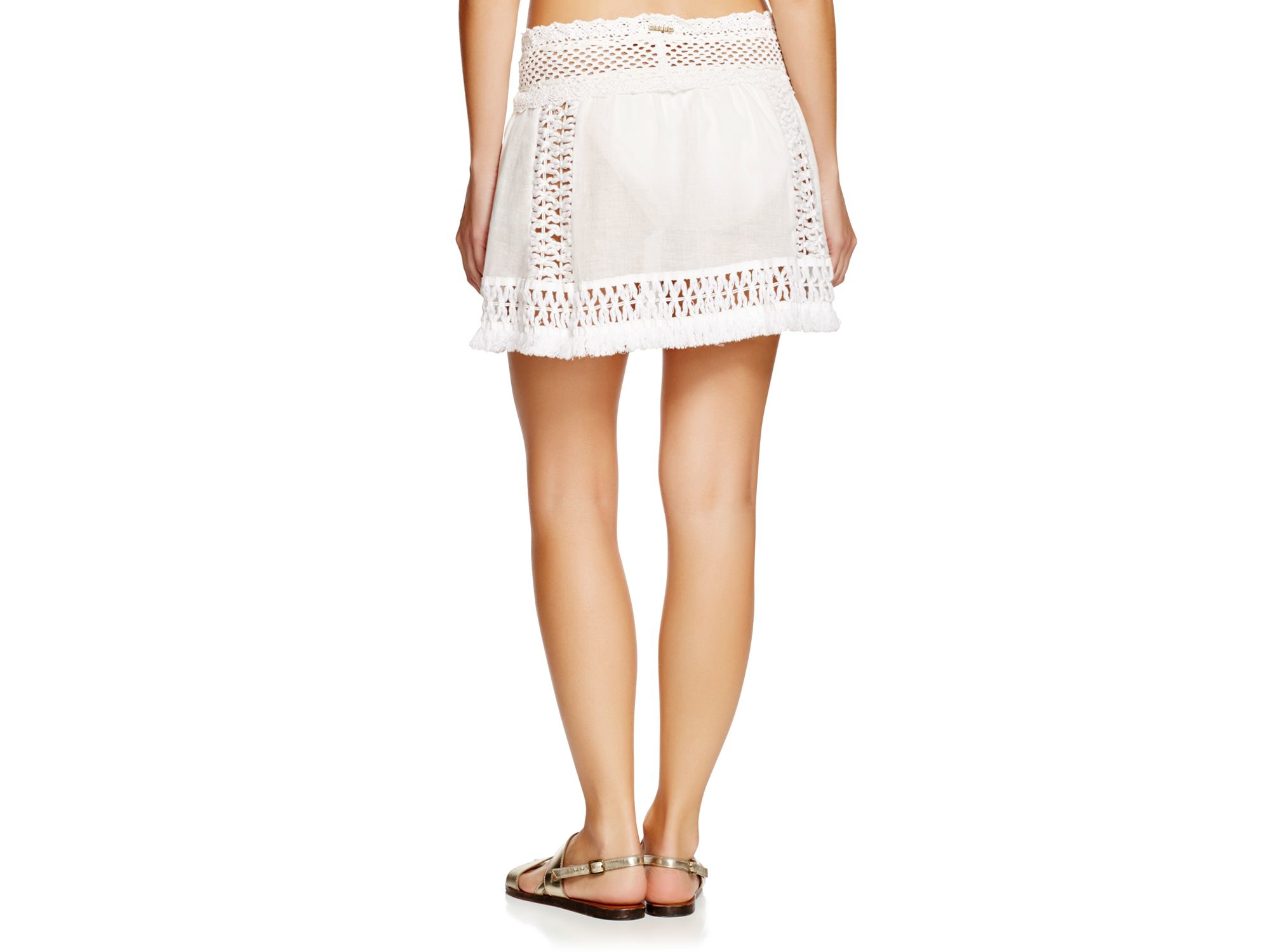 sofia by vix solid white crochet skirt swim cover up in
