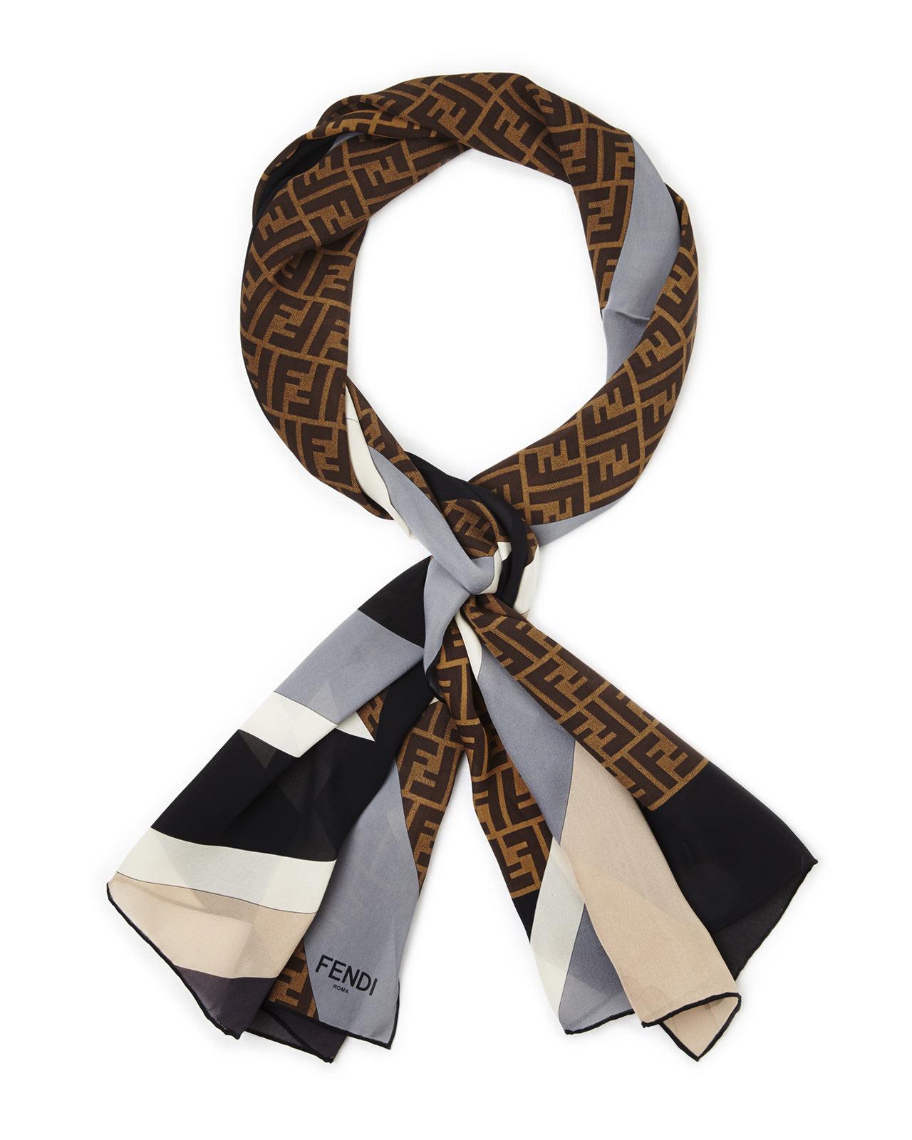 logo print square scarf - White Fendi hA1HSg