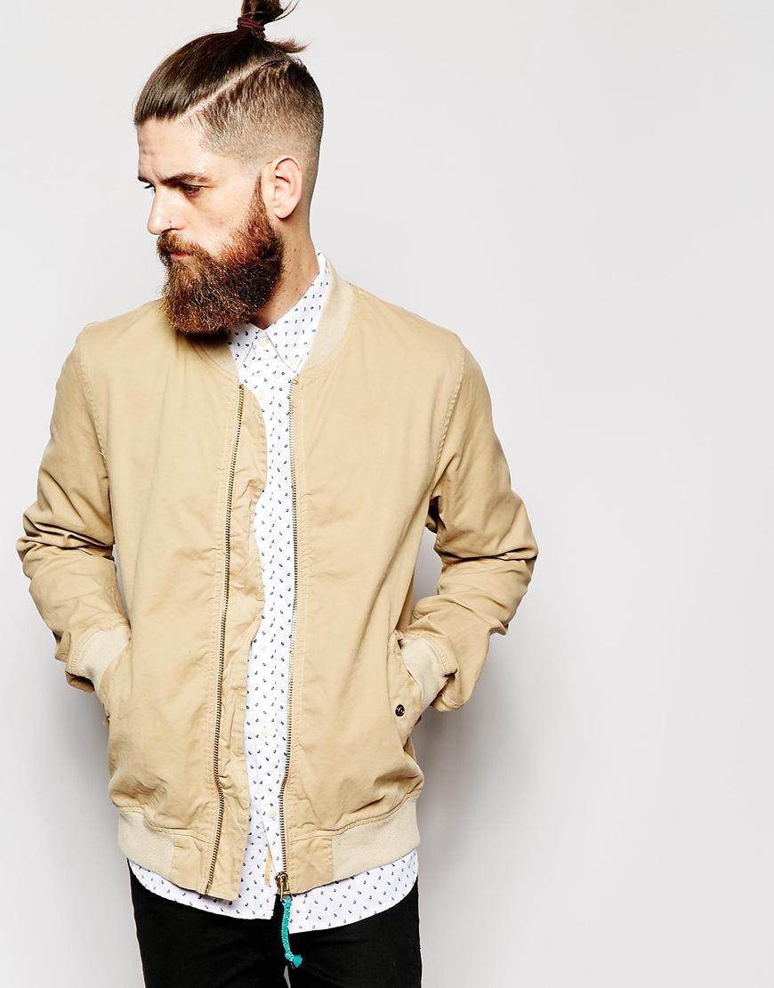 scotch soda bomber jacket in garment dye cotton in brown for men. Black Bedroom Furniture Sets. Home Design Ideas