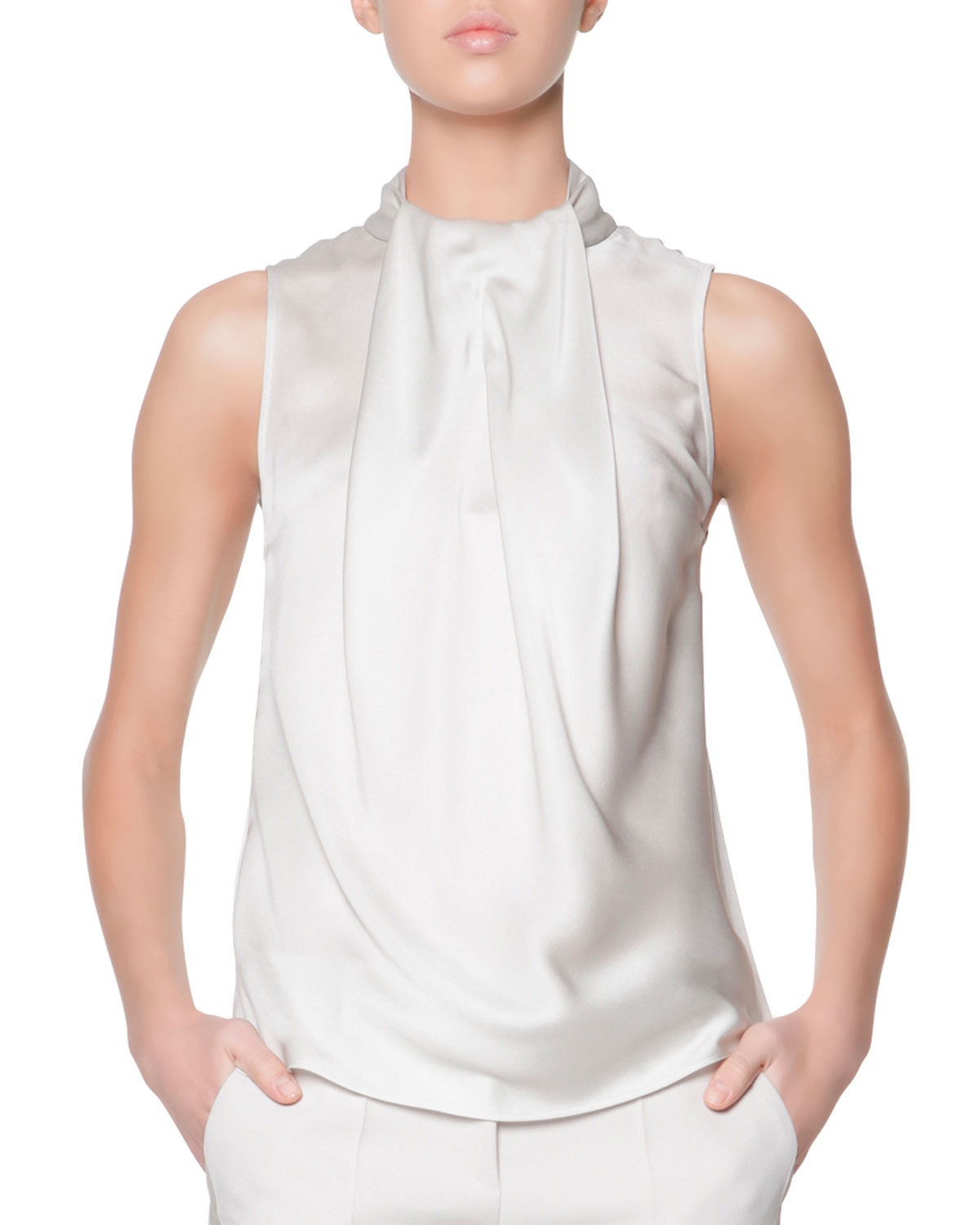 8eeecaa3052a Lyst - Giorgio Armani Sleeveless Drape-Ascot Silk Top in White
