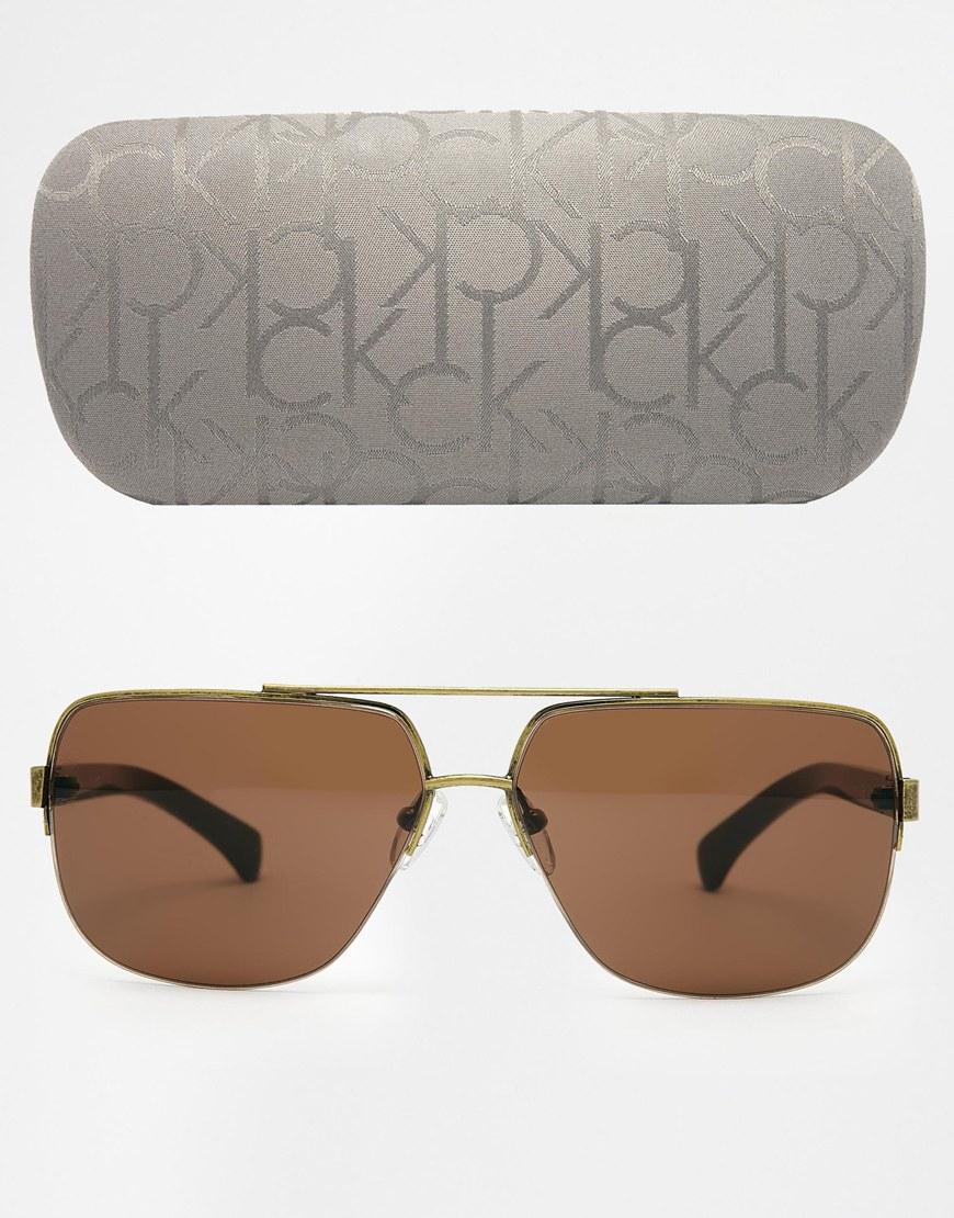 a709299707f8 Calvin Klein Ck Jeans Aviator Sunglasses in Metallic for Men - Lyst