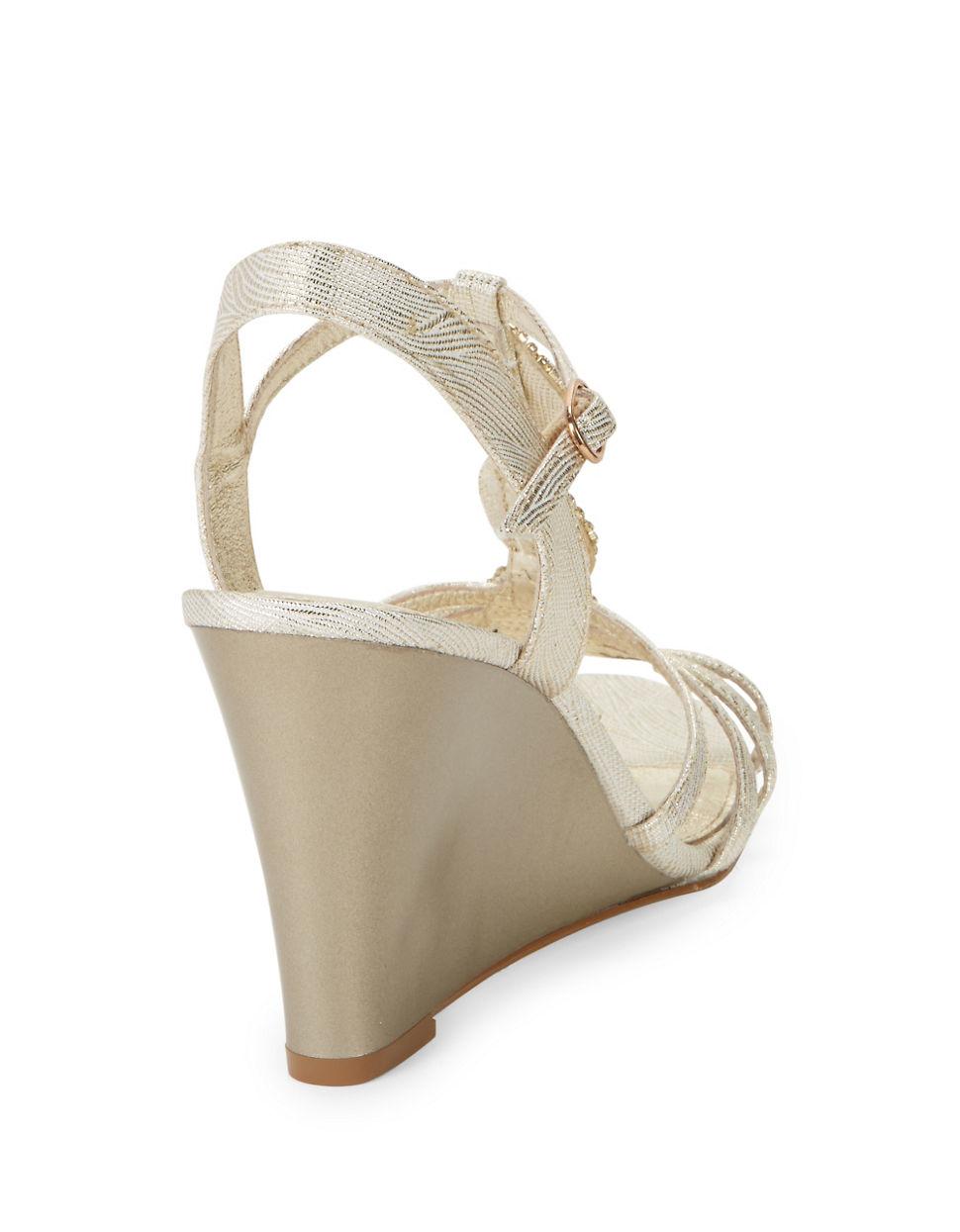papell kristen rhinestone wedge sandals in