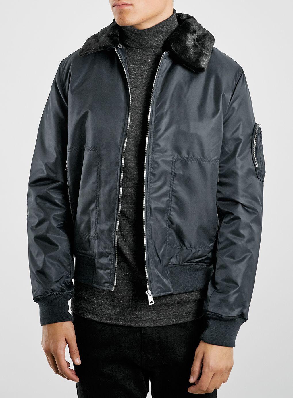 Topman Nylon Flight Jacket in Blue for Men | Lyst
