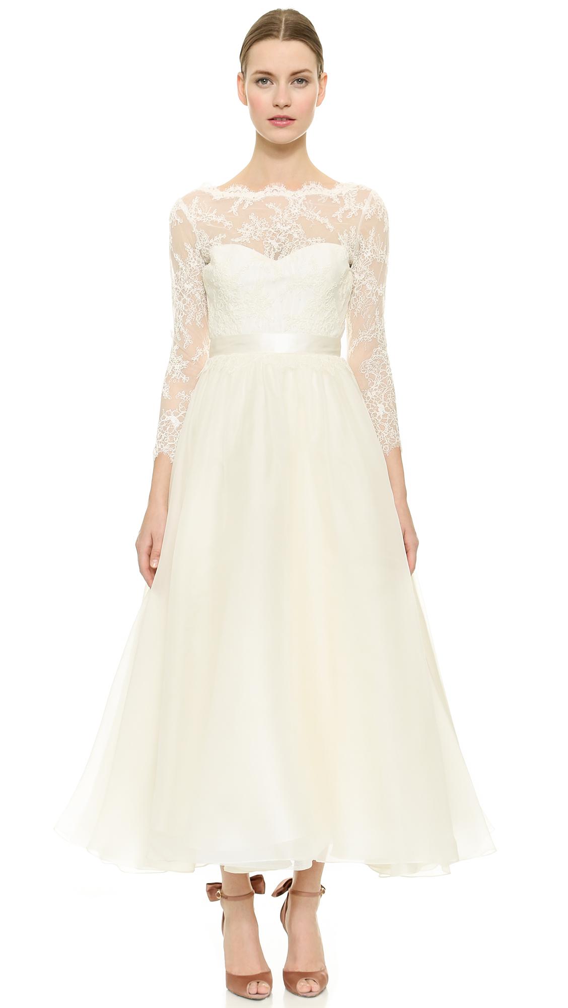 Marchesa Lace Up Back Dress Ivory in White Ivory